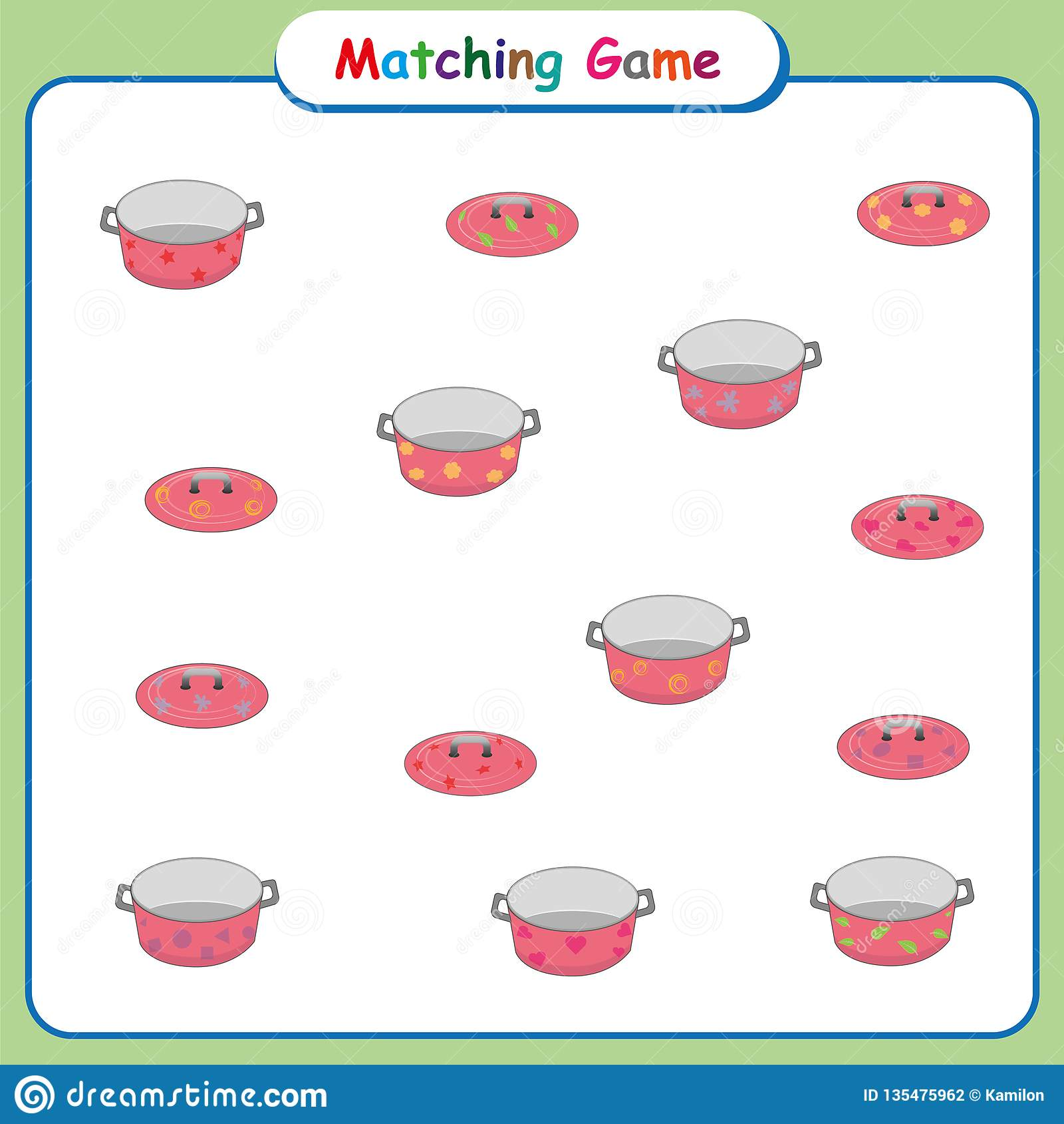Match Pairs Visual Game Surfer Cartoon Vector