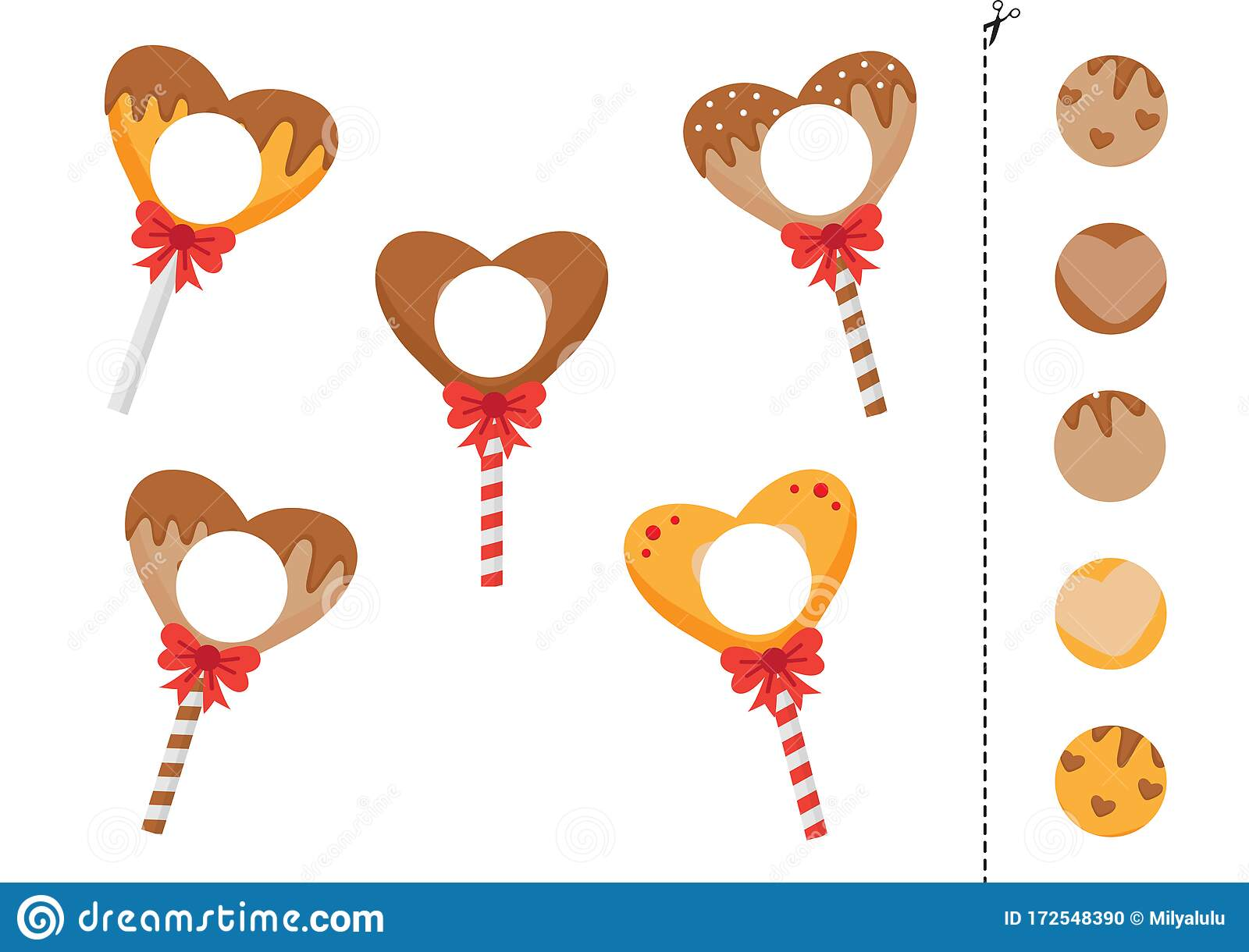 Matching Game Of Lollipops In Shape Of Heart Stock Vector