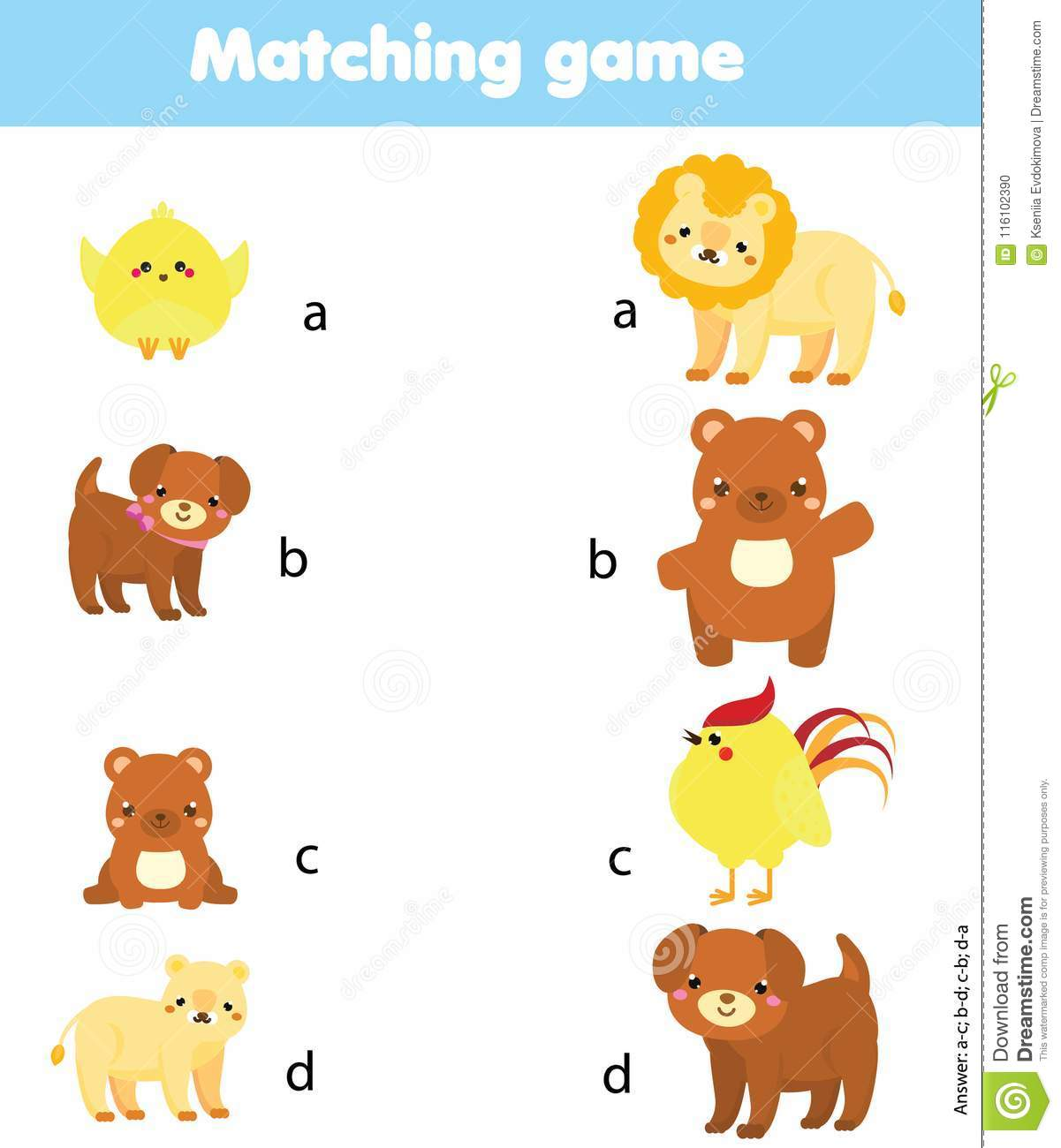 Matching Game Match Animal Parent With Baby Educational