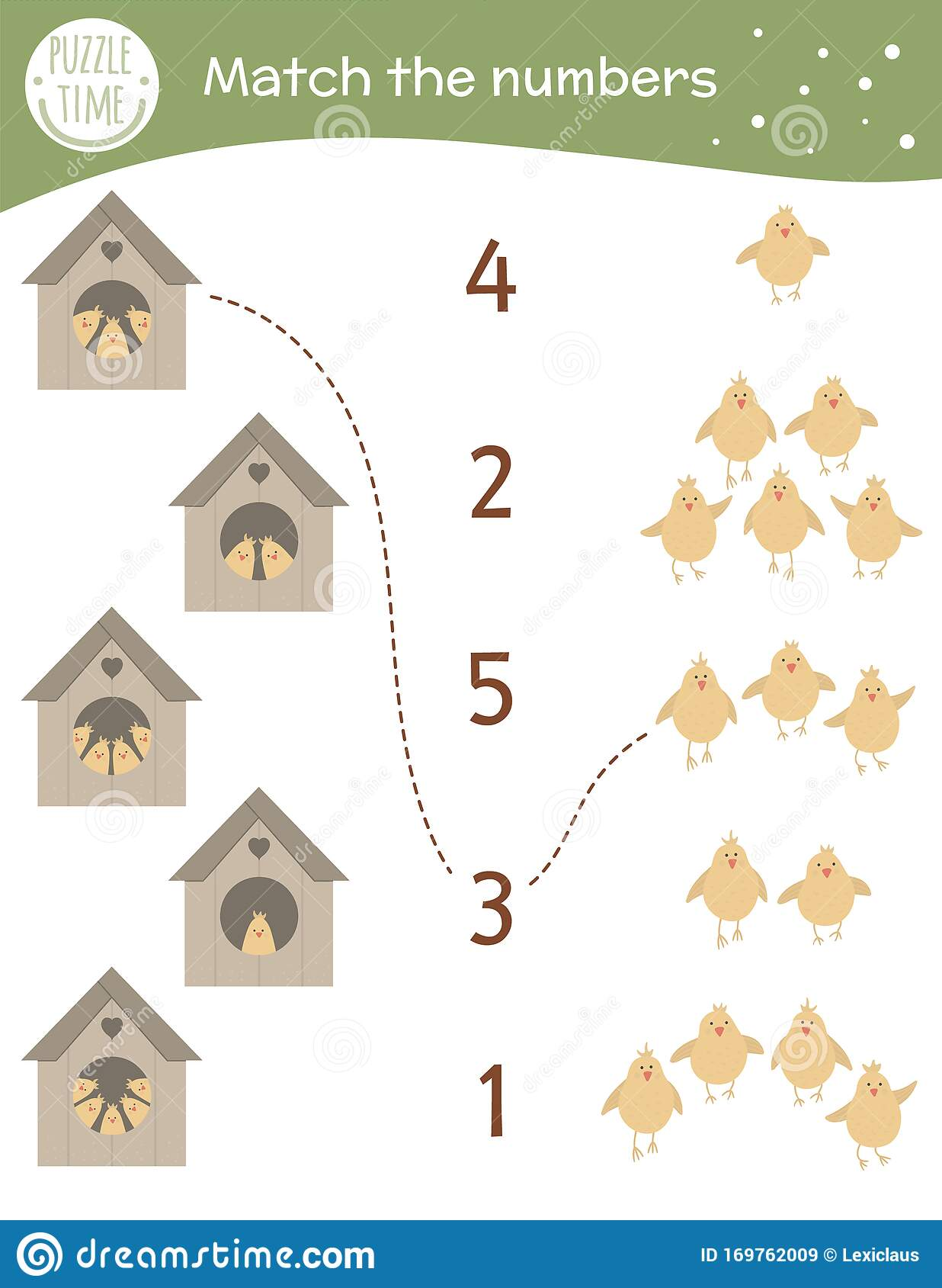 Matching Game With Starling Houses And Cute Chicks Easter