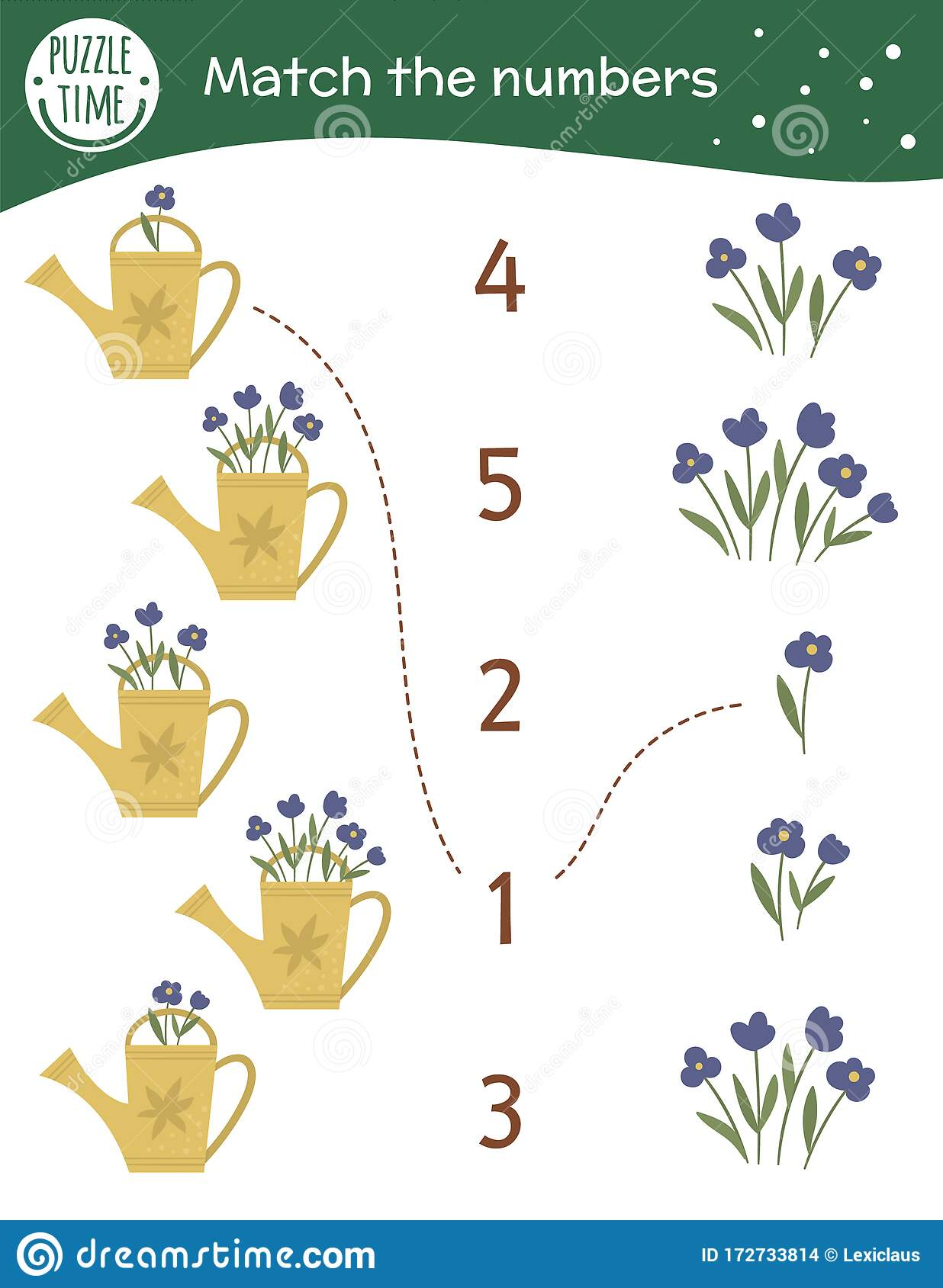 Matching Game With Watering Cans And Flowers Garden Math