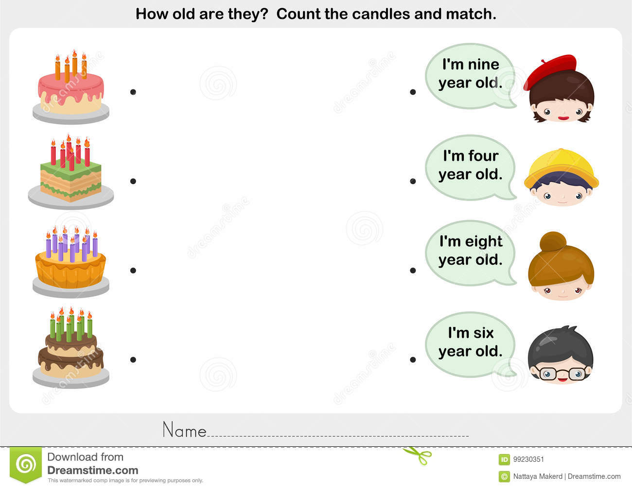 Matching People And Birthday Cake Stock Vector