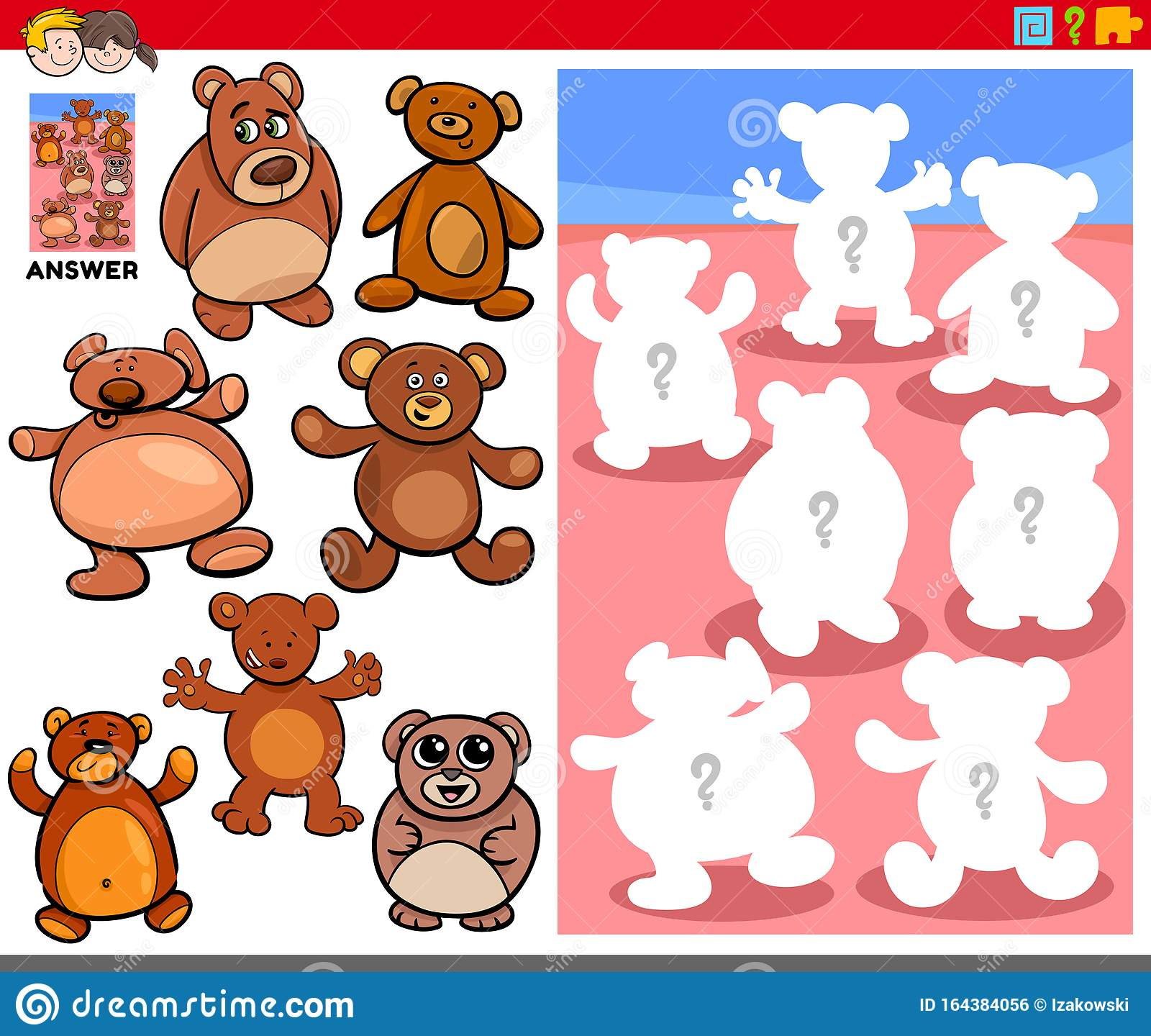 Matching Shapes Game With Cartoon Teddy Bears Stock Vector