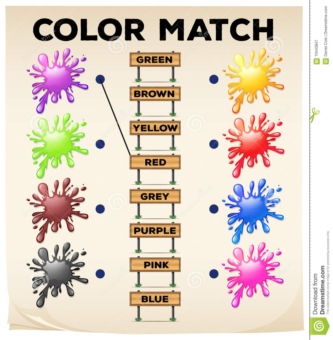 Matching Worksheet With Colors And Words Stock Illustration