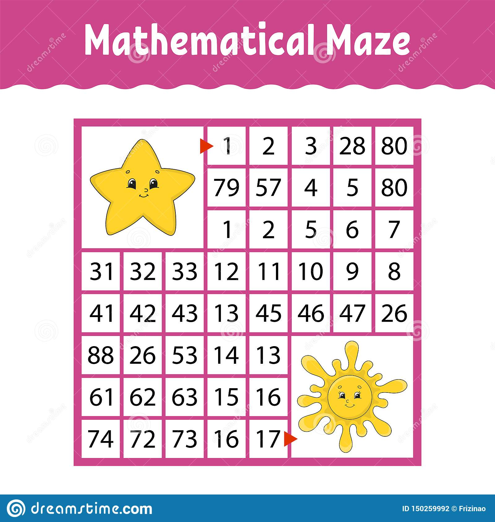 Mathematical Colored Square Maze Education Developing