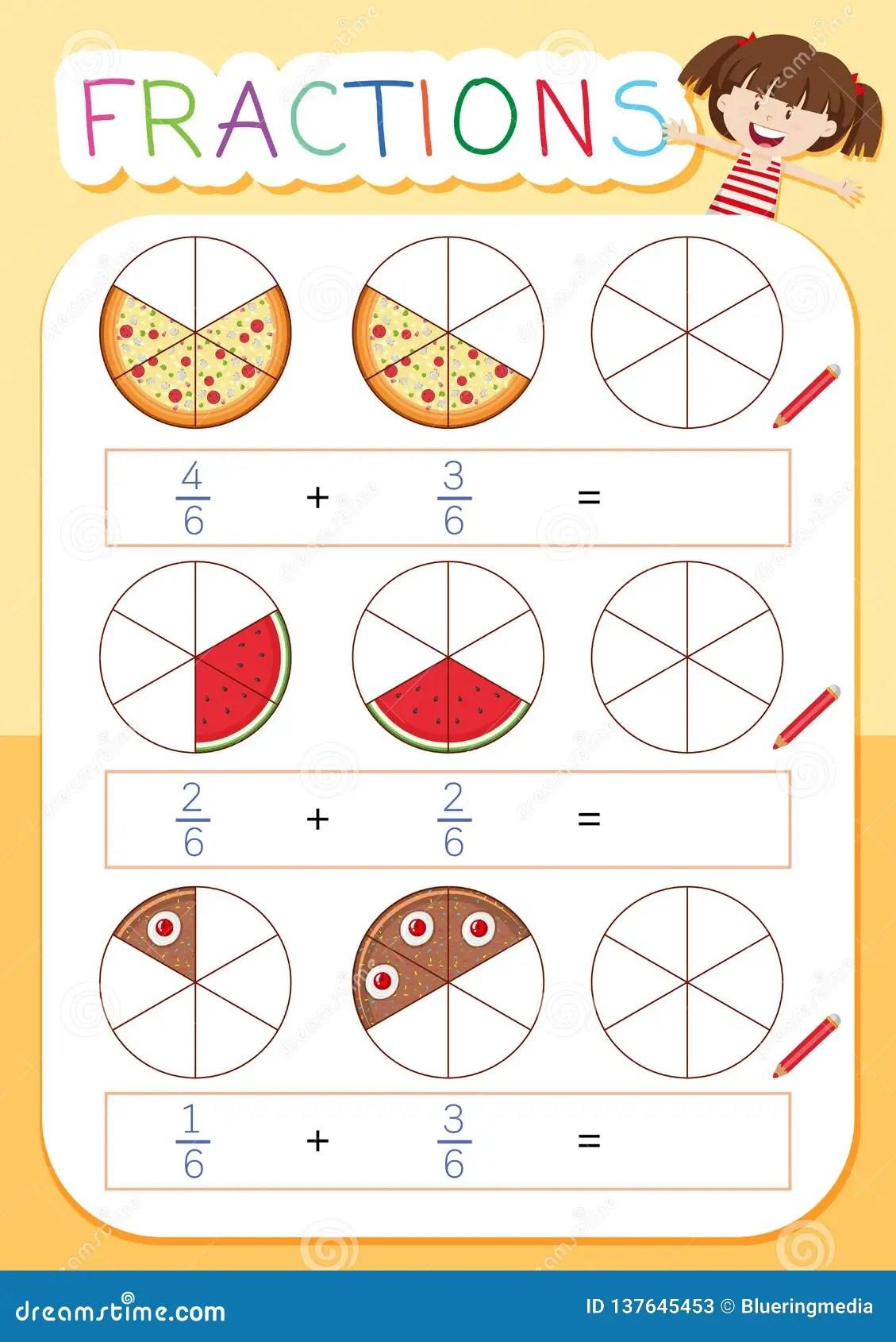 Matematyki Frakcji Worksheet Ilustracja Wektor