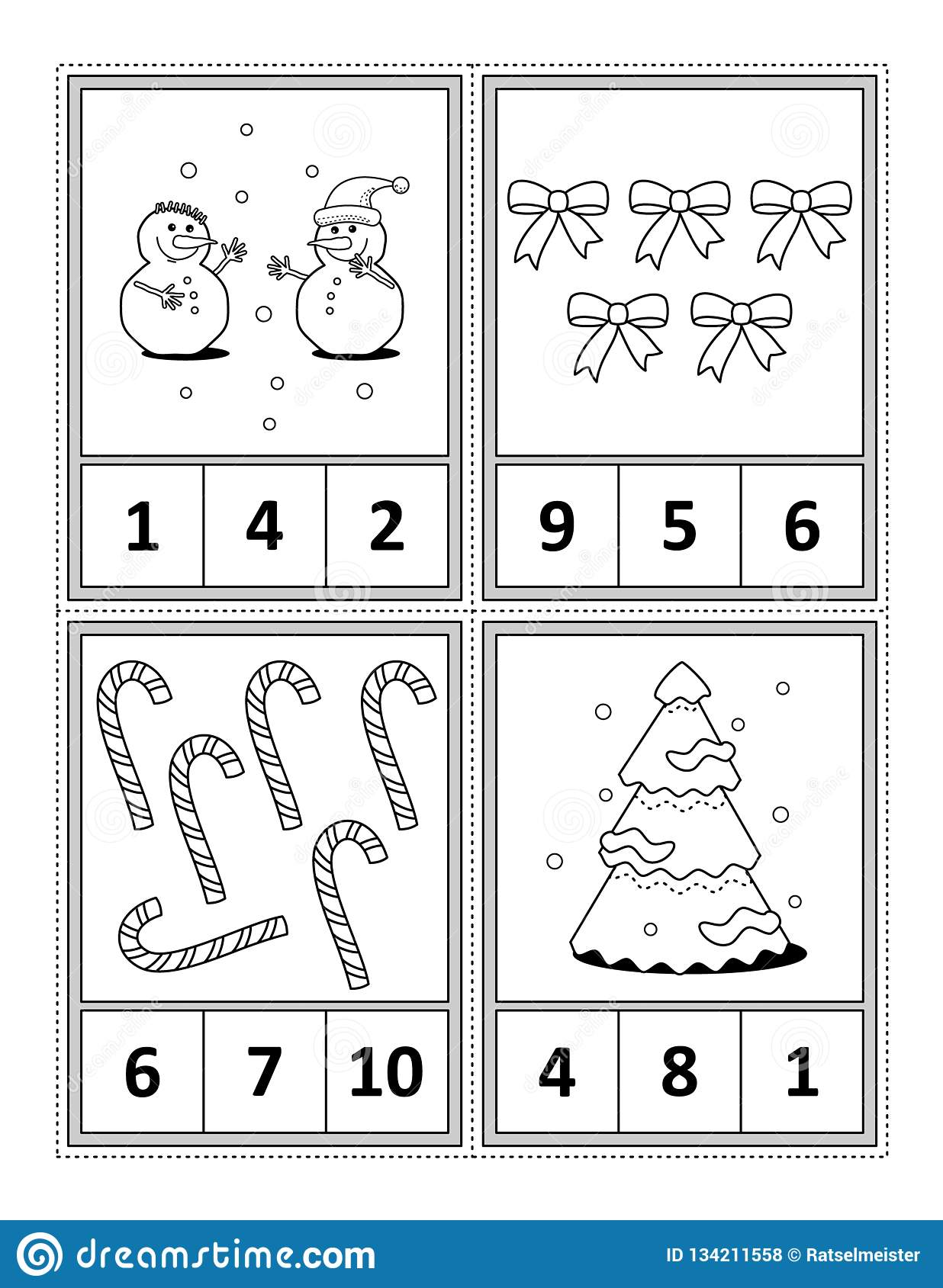 Kids And Numbers On Tree In Winter Cartoon Vector