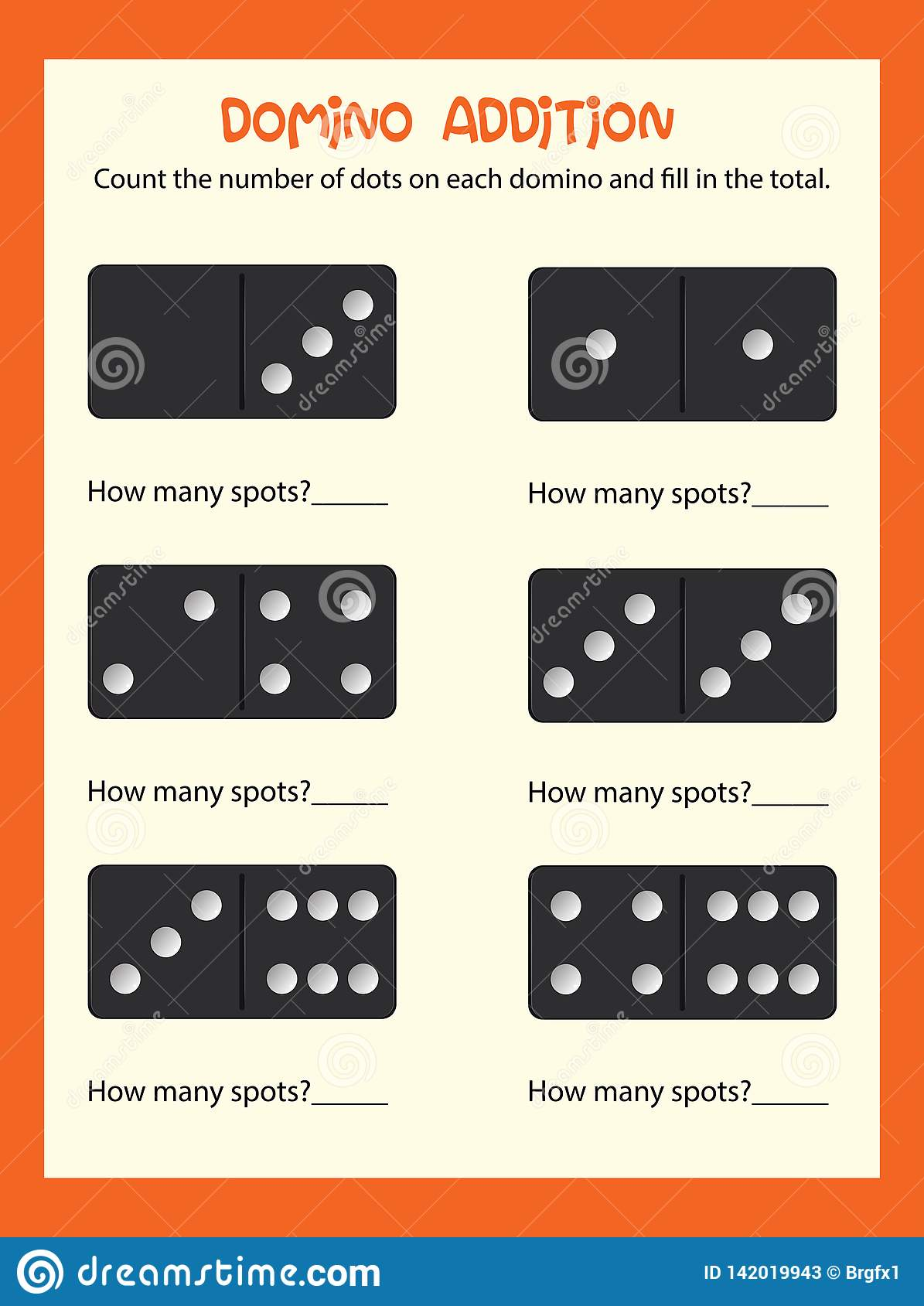 A Math Domino Addition Worksheet Stock Vector