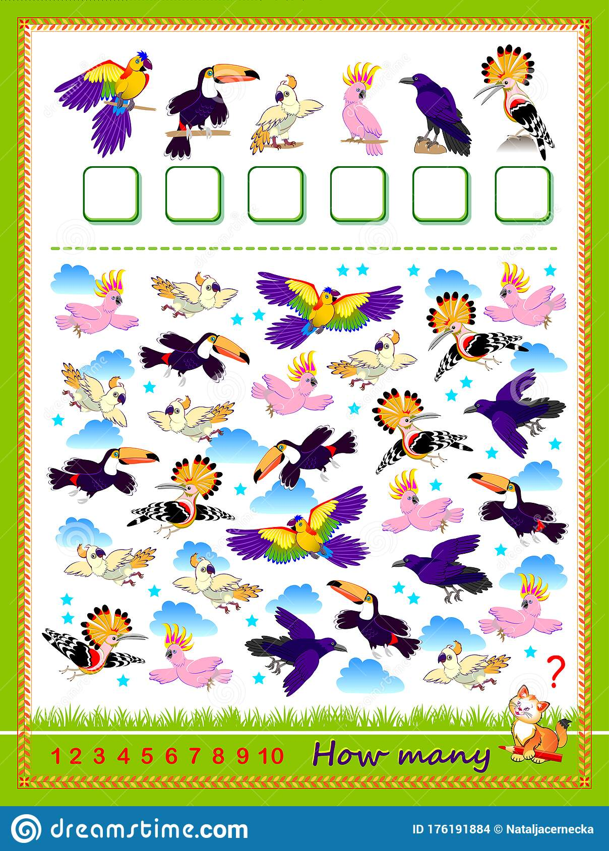 Math Education For Children Count Quantity Of Birds And