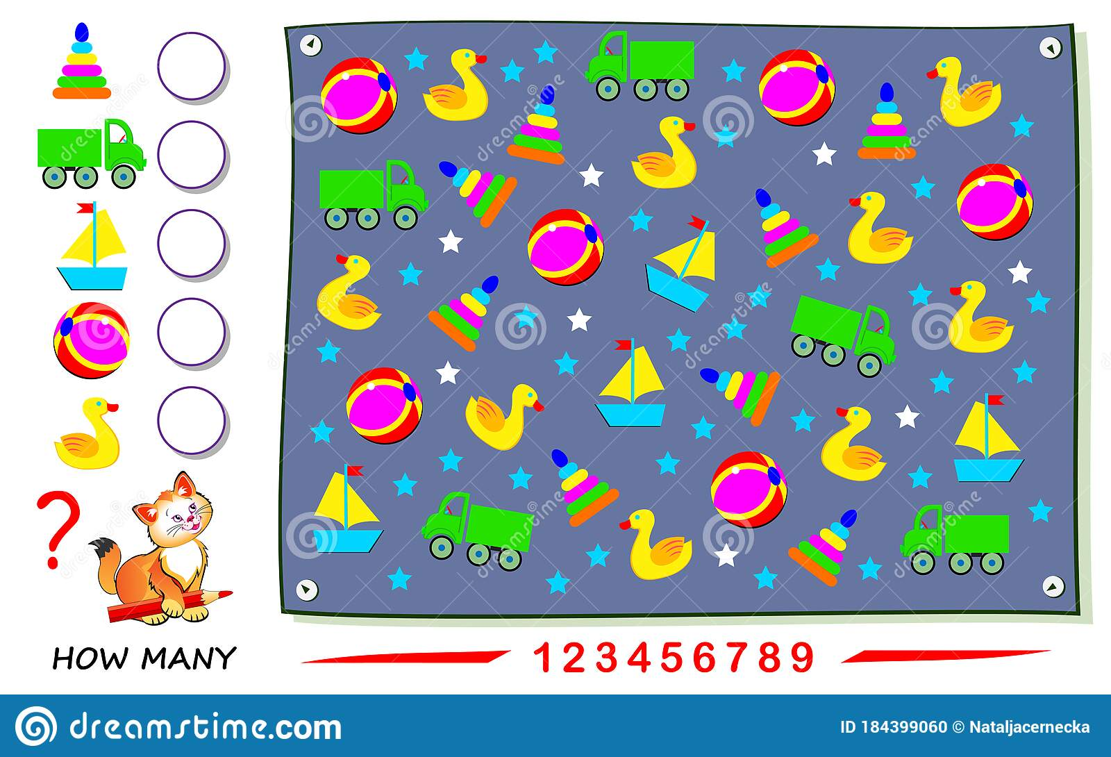 Math Education For Children Count Quantity Of Toys And