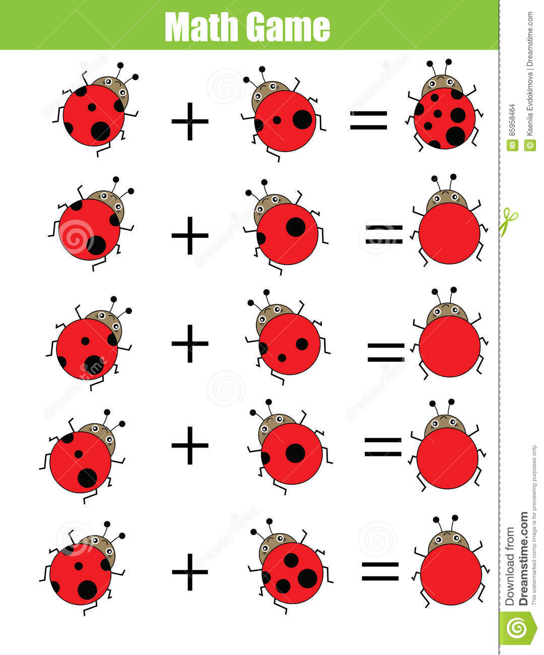 Math Educational Counting Game For Children Addition Worksheet Calculate The Ladybug Dots