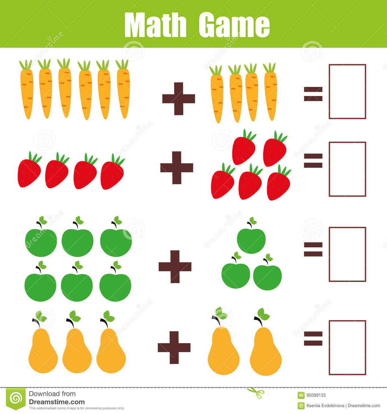 Math Problems For Kids Addition