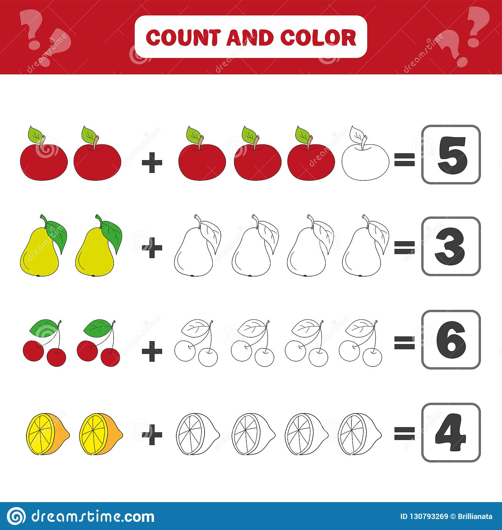 Math Educational Game For Children Counting Equations