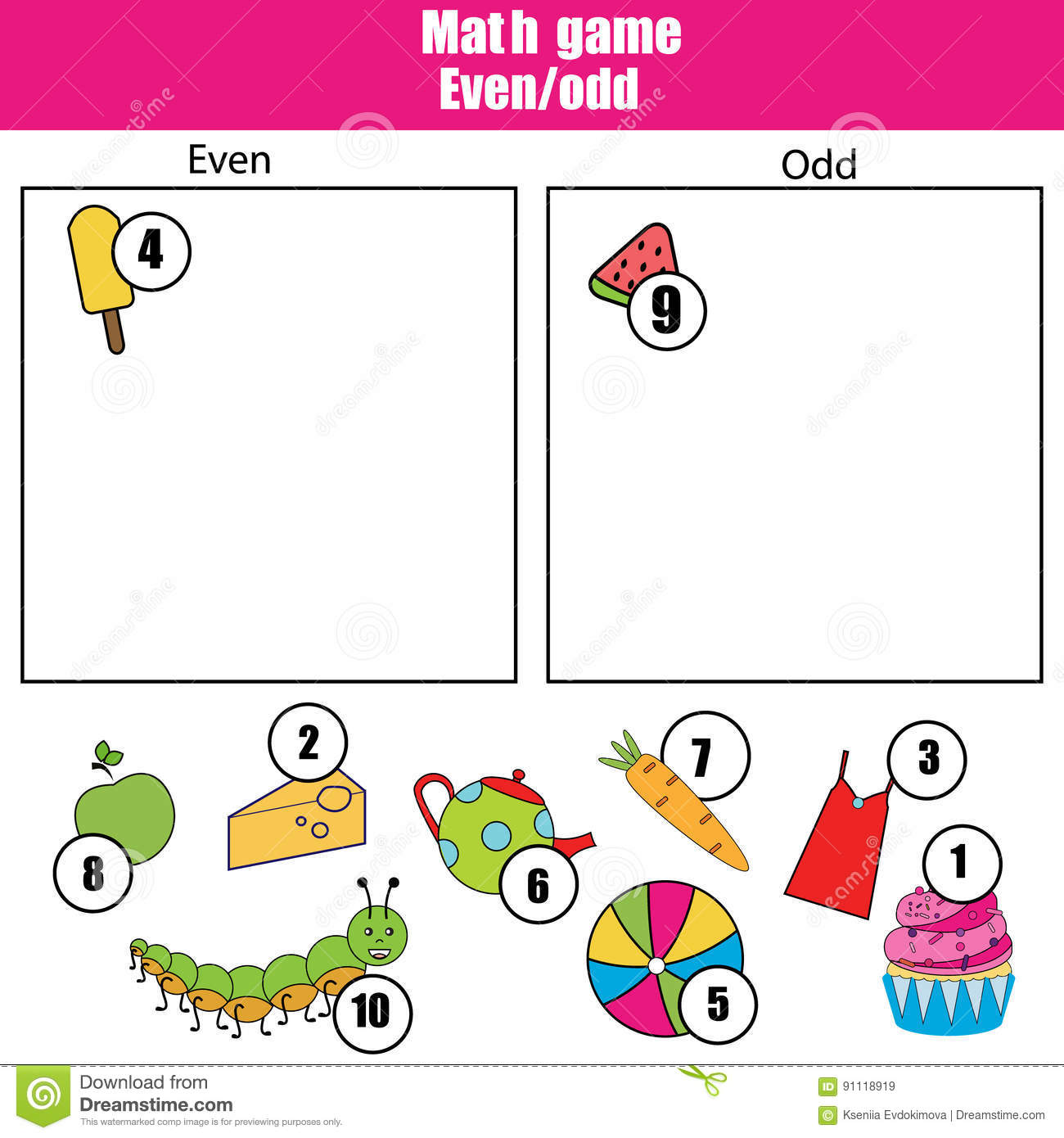 Math Educational Game For Children Learning Even And Odd