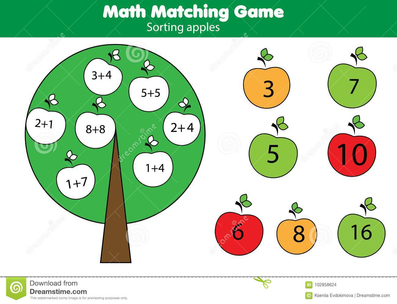 Math Educational Game For Children Matching Mathematics Activity Counting Game For Kids