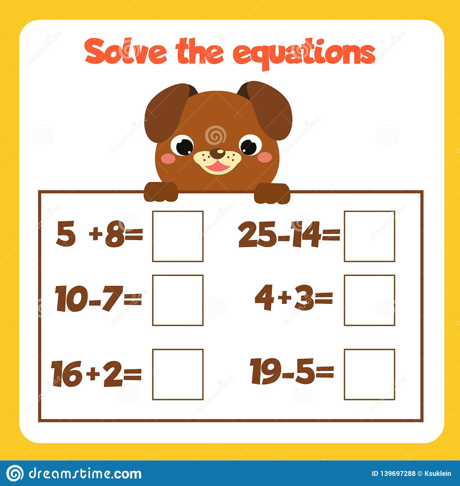 Math Educational Game For Children Solve Equations