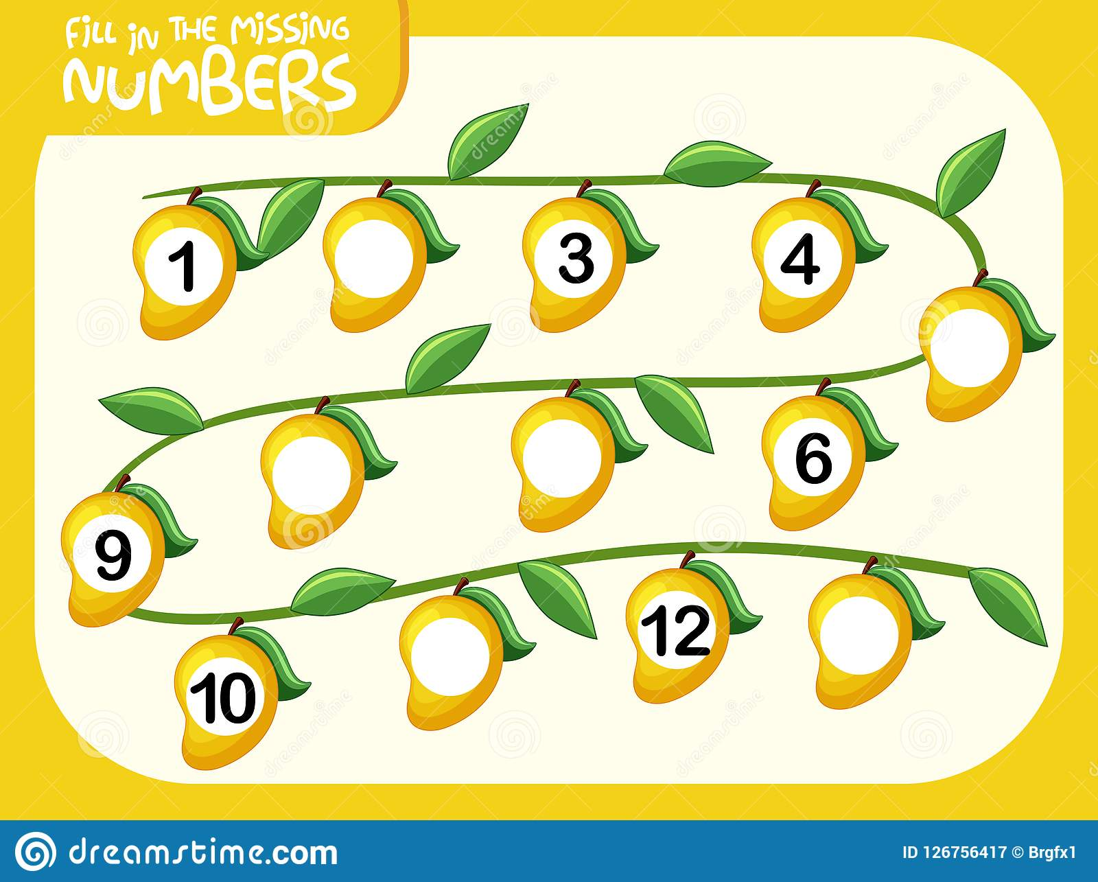 Math Fill Missing Number Worksheet Stock Vector