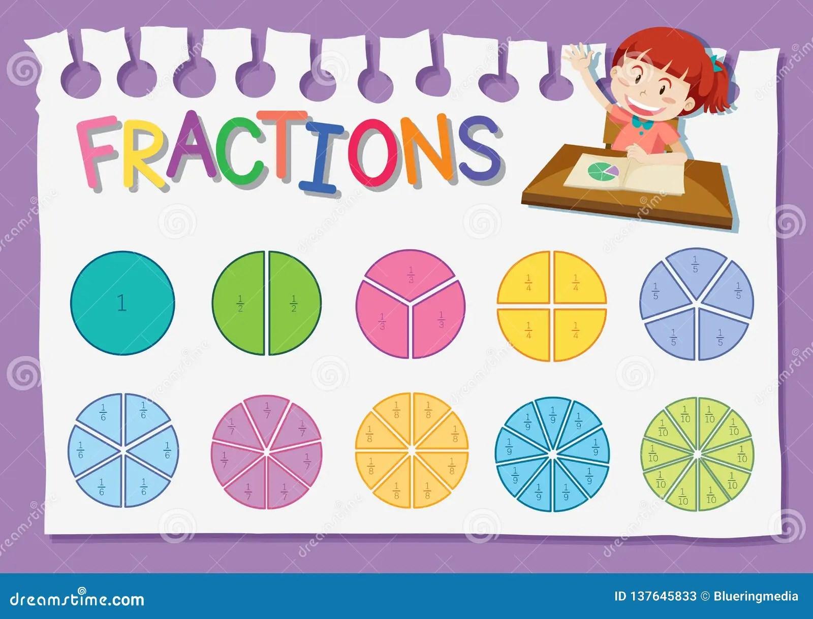 Math Fraction Education Worksheet Stock Vector