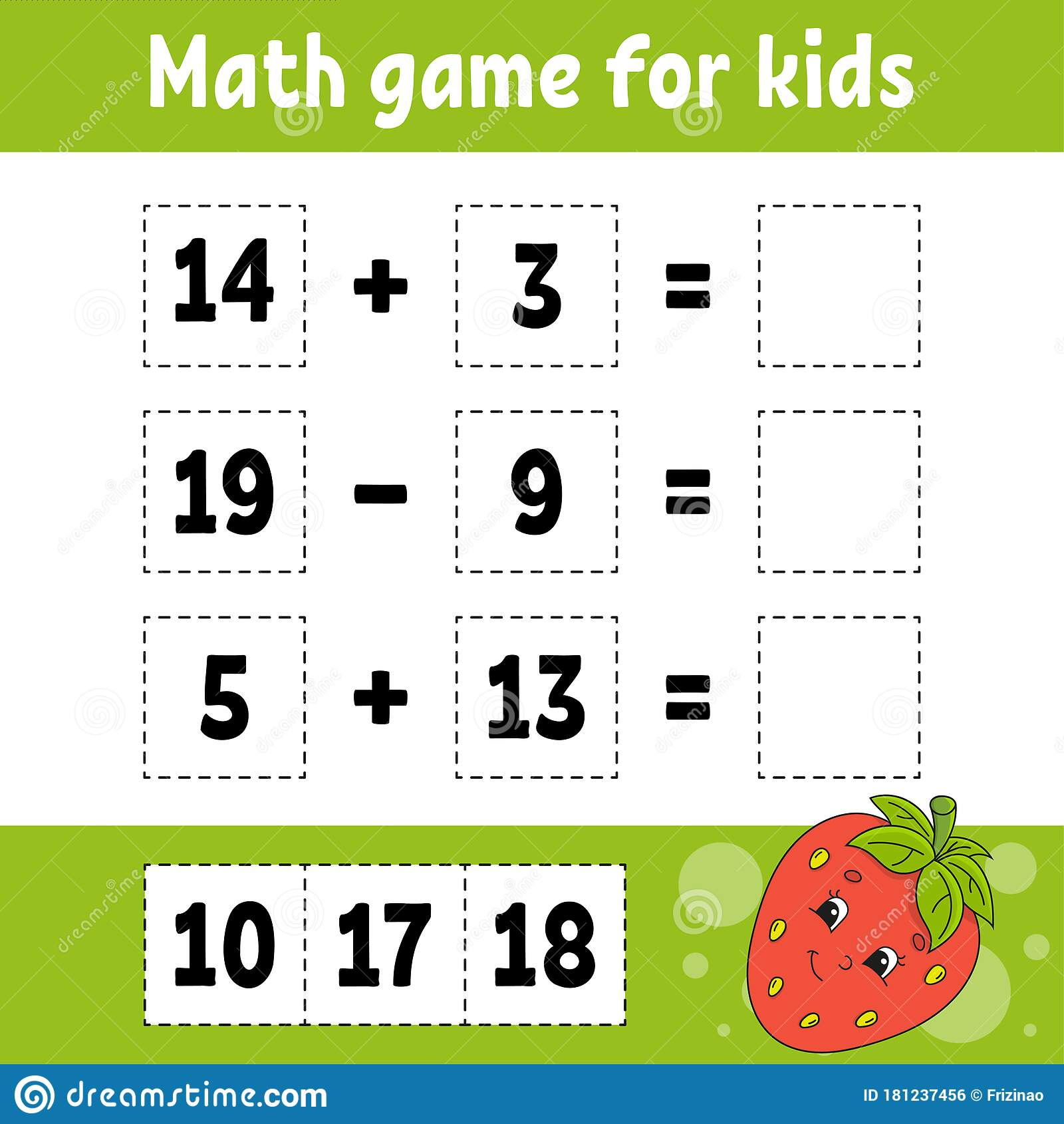 Math Game For Kids Education Developing Worksheet