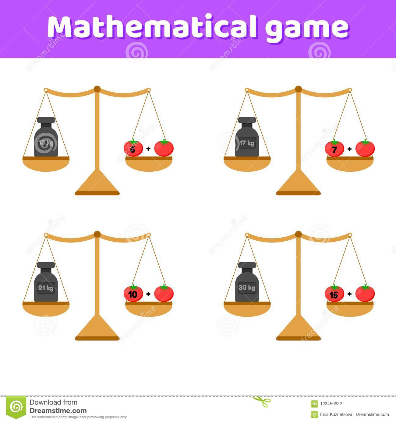 Math Game For Kids Of School And Preschool Age Scales And