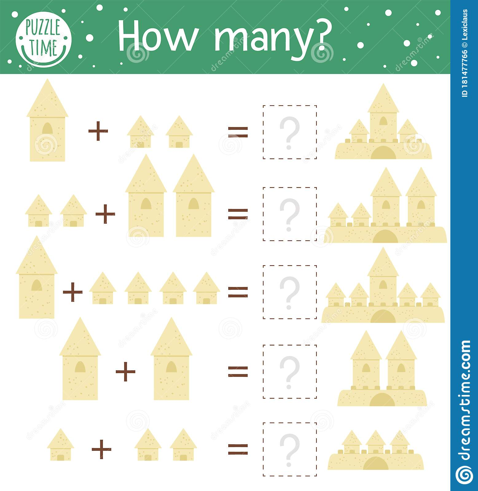 Math Game With Sandcastles Summer Mathematic Activity For