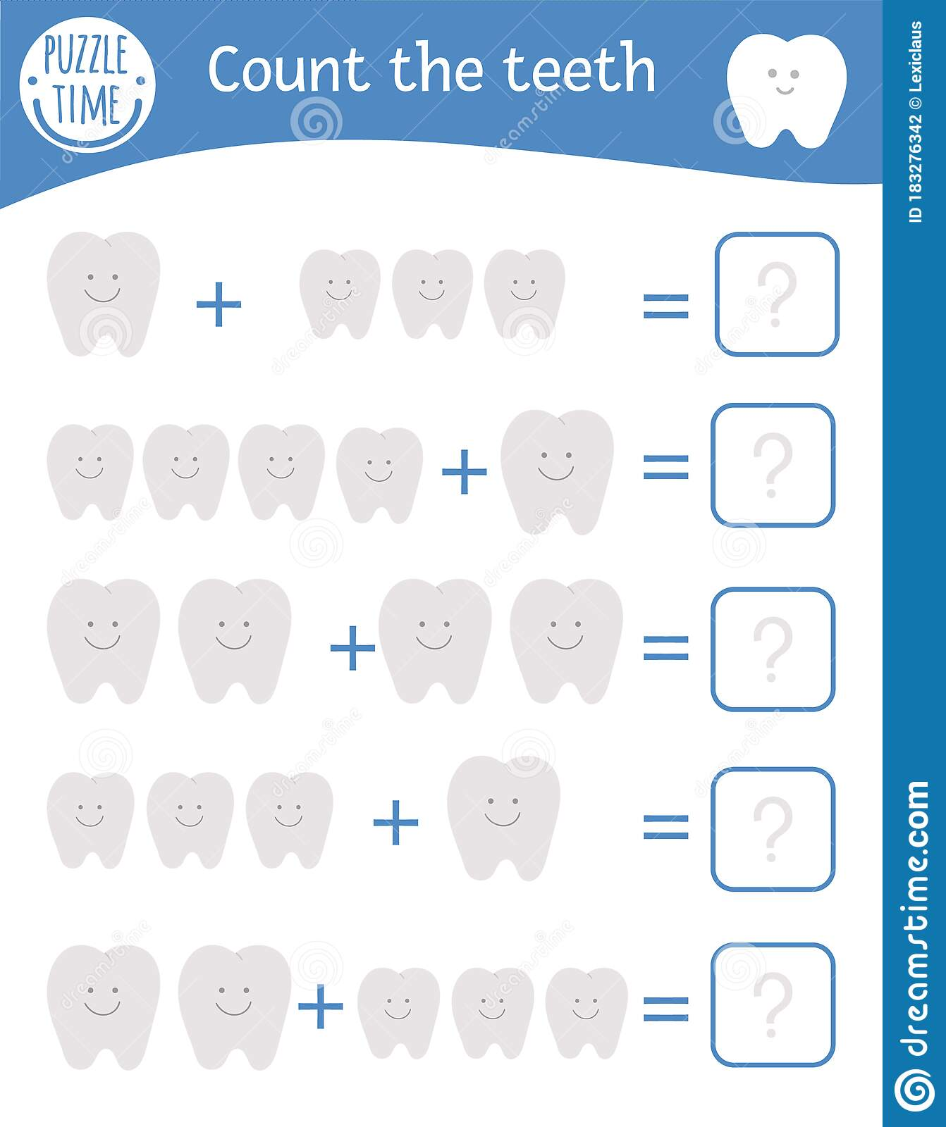 Math Game With Teeth Dental Care Mathematic Activity For