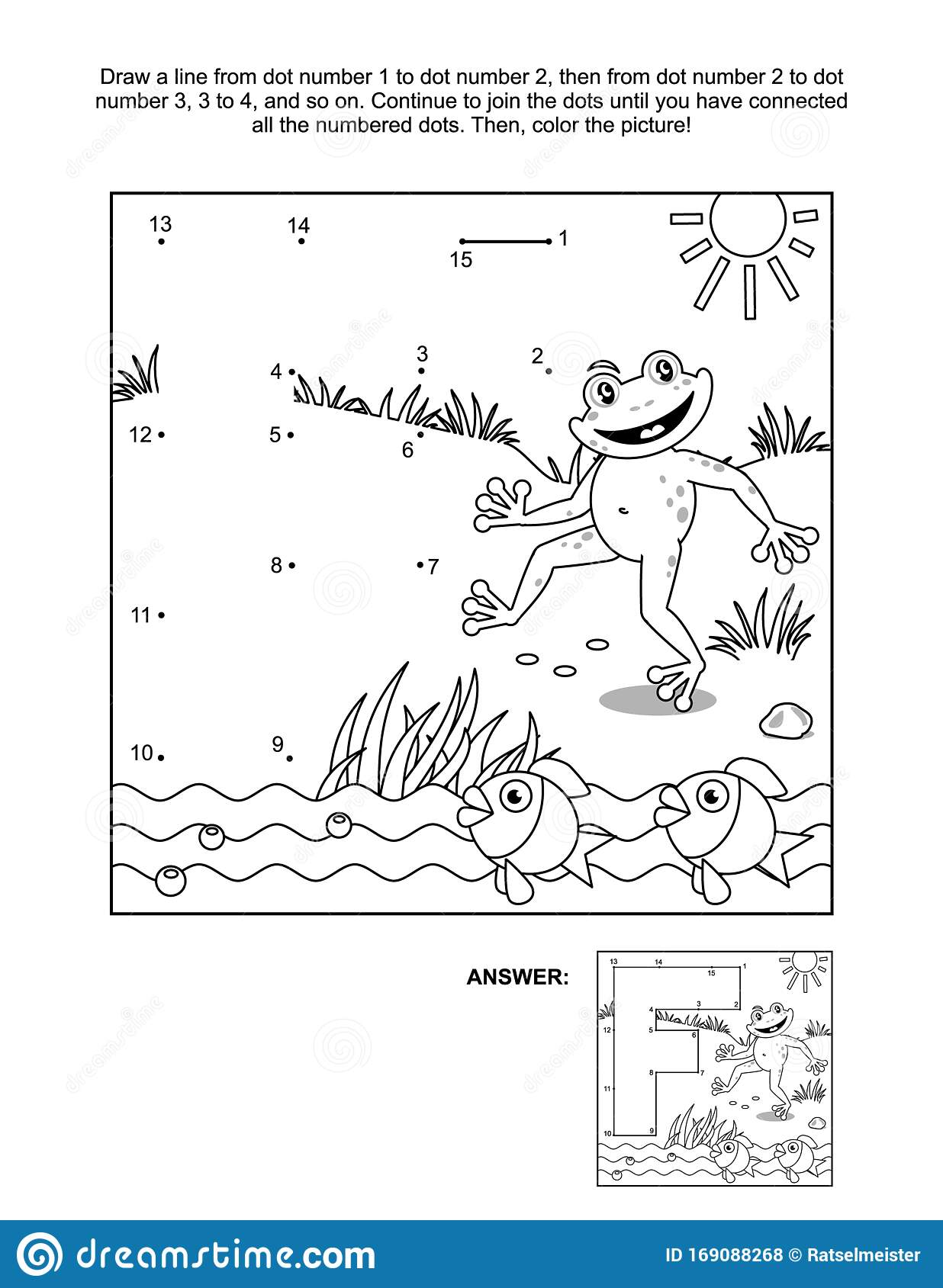 Connect The Dots And Coloring Page With Letter F Frog And