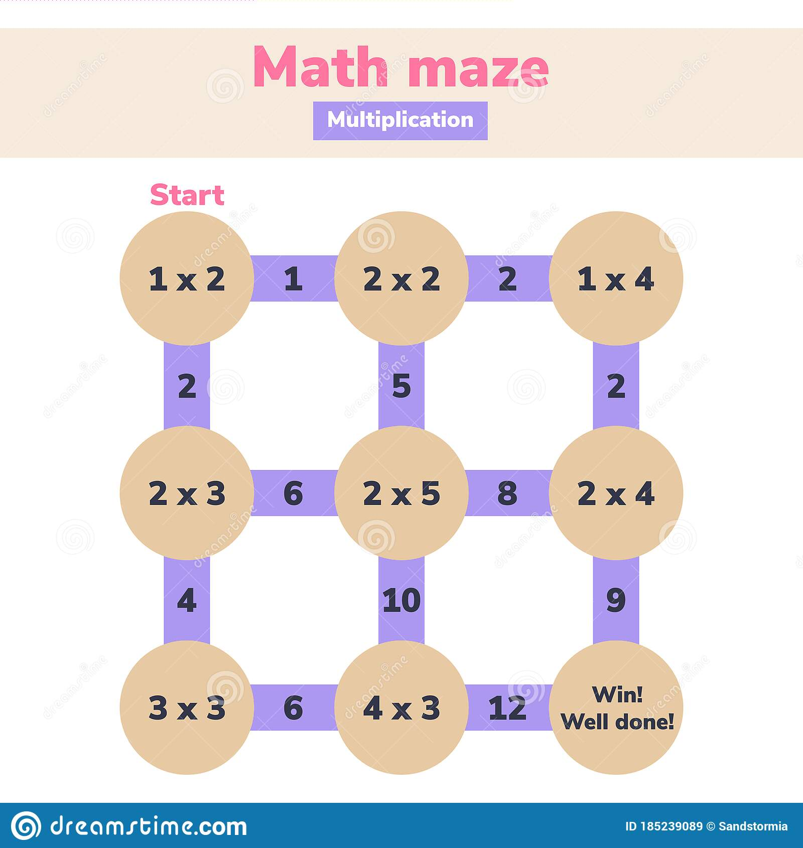 Math Maze Multiplication Logic Game For School Kids