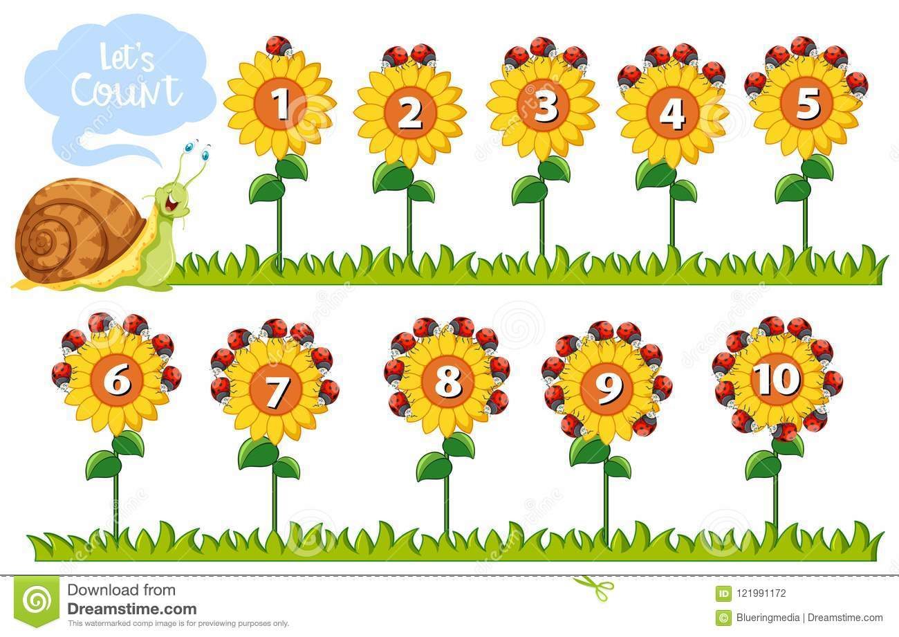 Math Number On Flowers Stock Vector Illustration Of