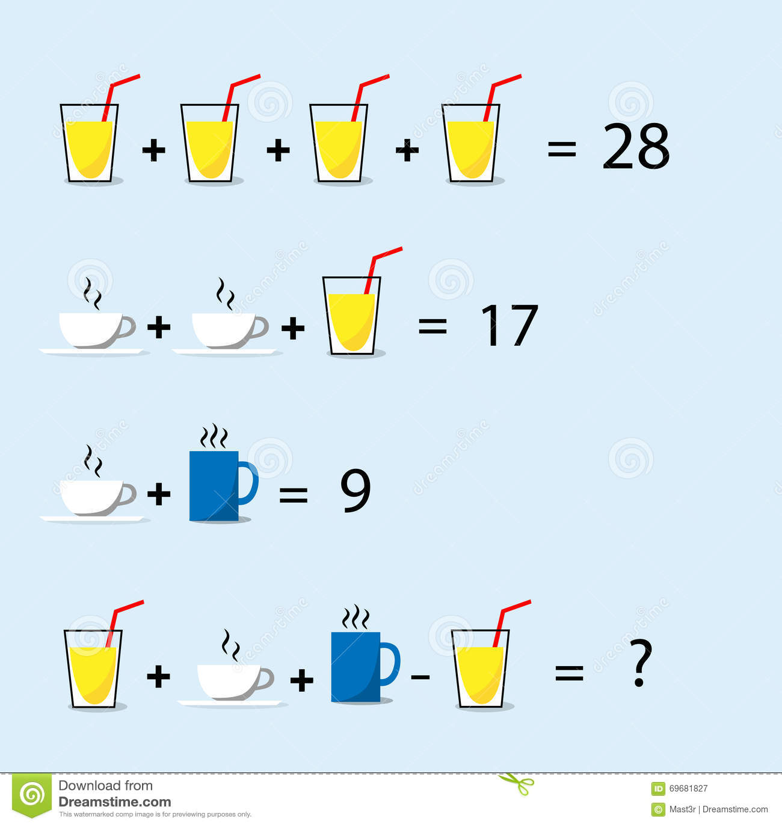 Math Puzzle Decision Making Solve Trick Question Stock