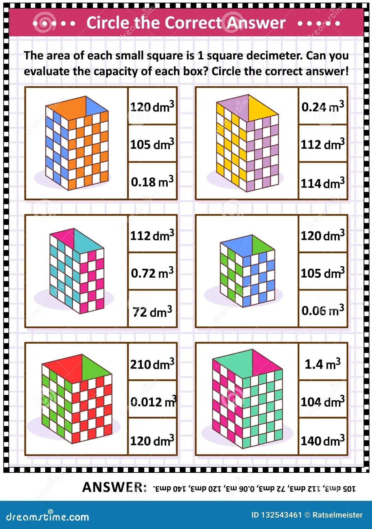 Math Skills Training Puzzle Or Worksheet With Box Capacity