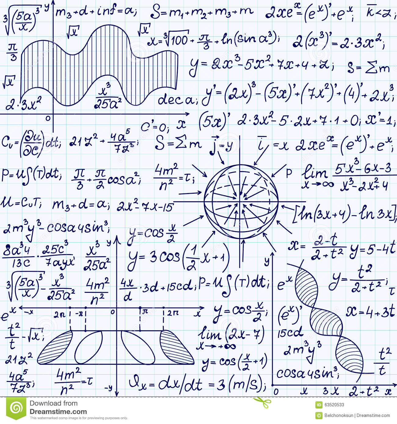 Math Vector Seamless Pattern With Science Drawings Tasks