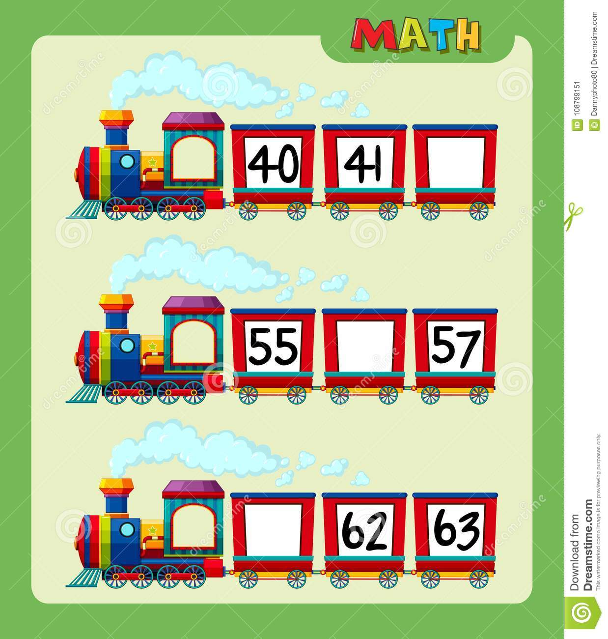 Math Worksheet With Counting Numbers On Train Stock Vector