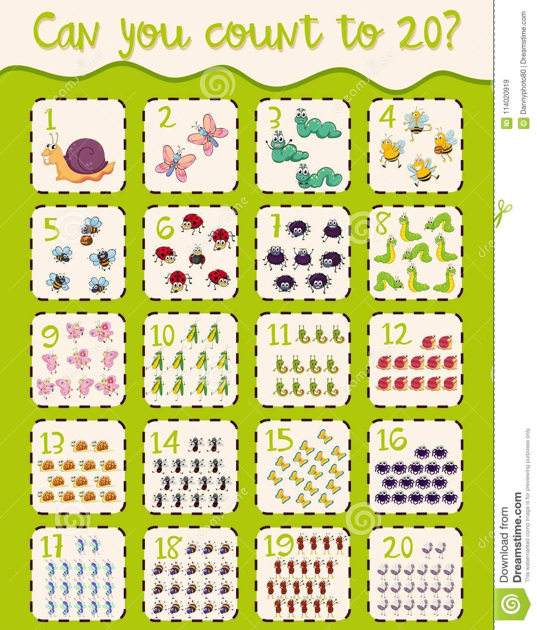 Math Worksheet Design For Counting To Twenty Stock Vector