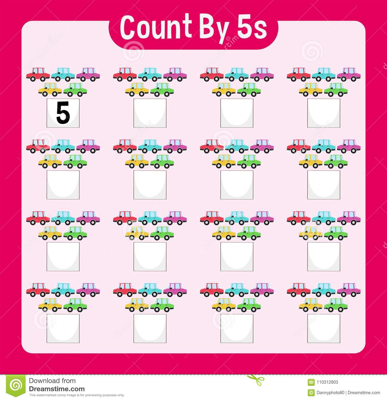 Math Worksheet Four Counting By Five With Cars Stock Vector