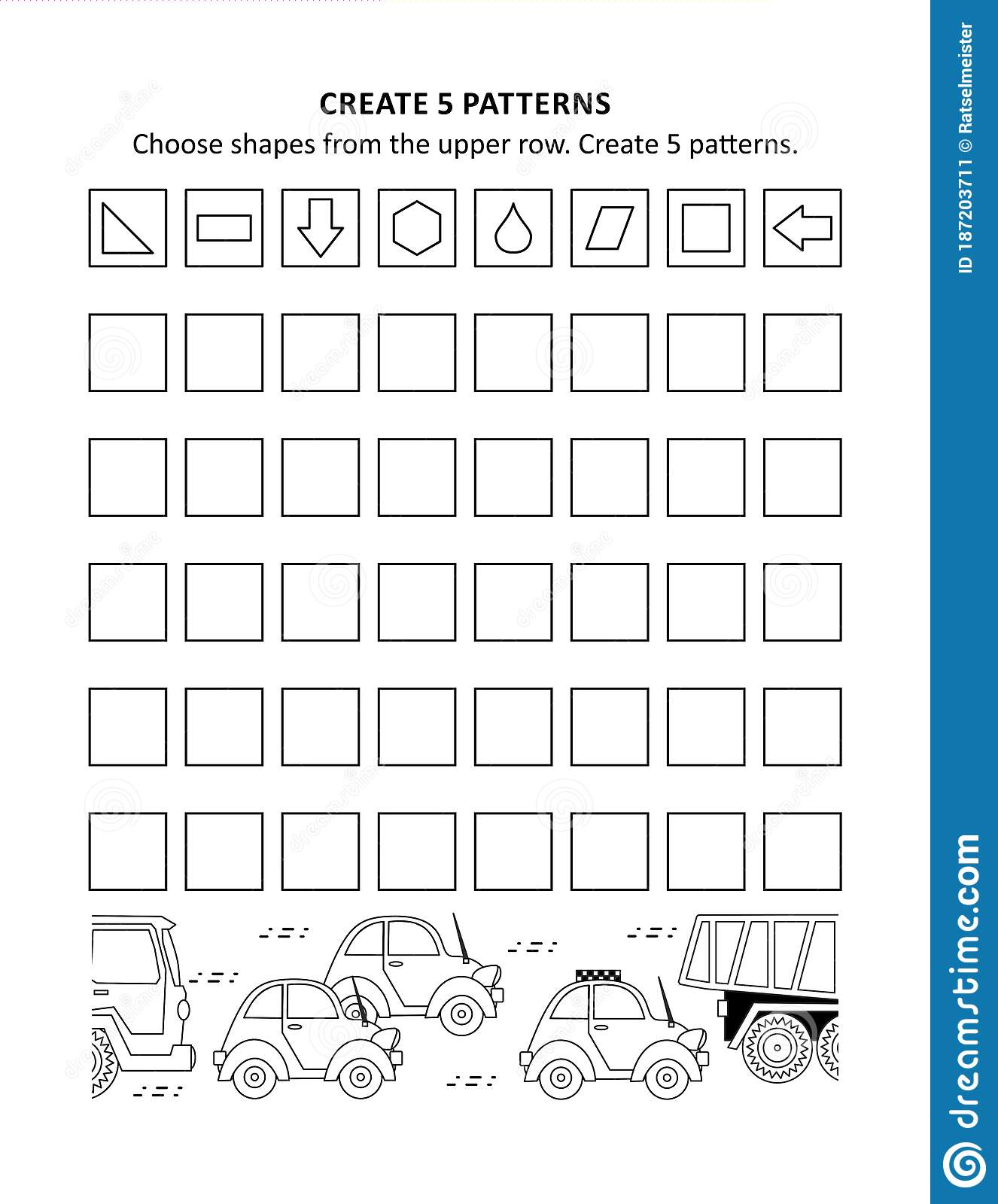 Math Worksheet For Kids With Patterns And Shapes Stock