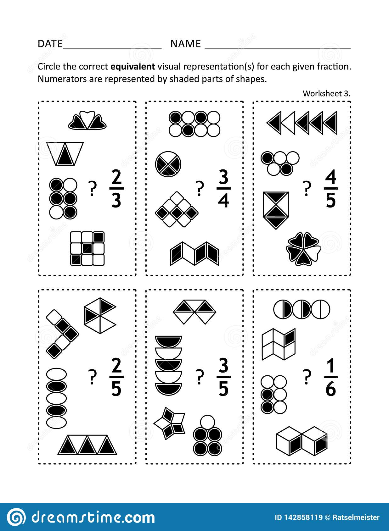 Math Practice Worksheet For Children And Adults Stock