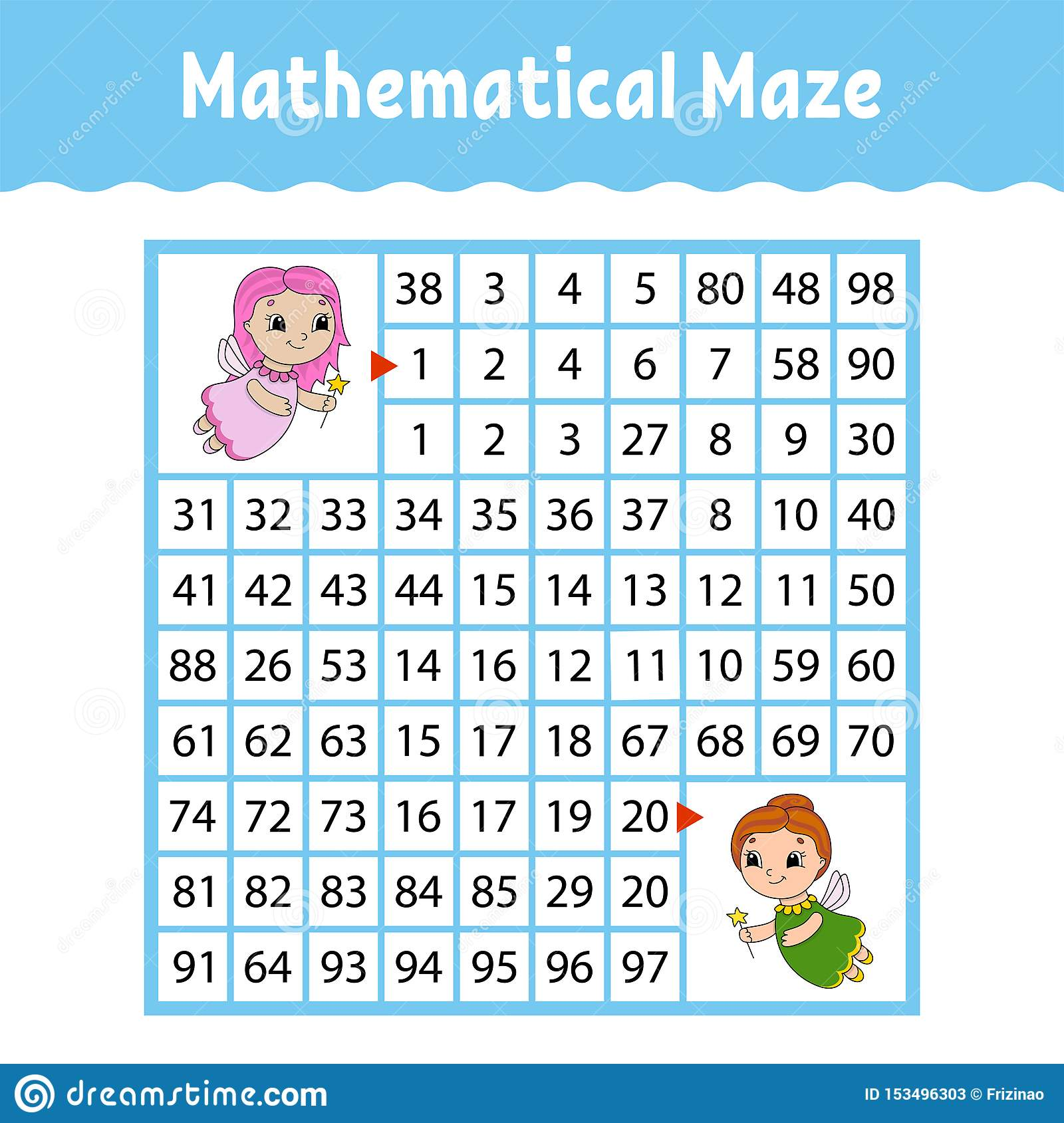 Mathematical Maze Game For Kids Funny Labyrinth