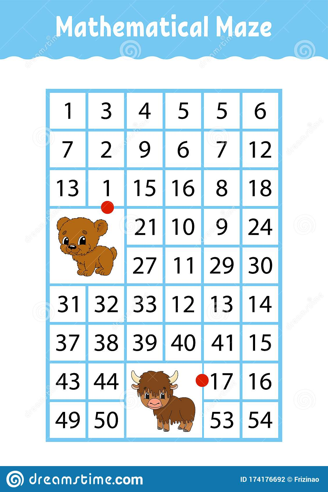 Mathematical Rectangle Maze Bear And Yak Game For Kids