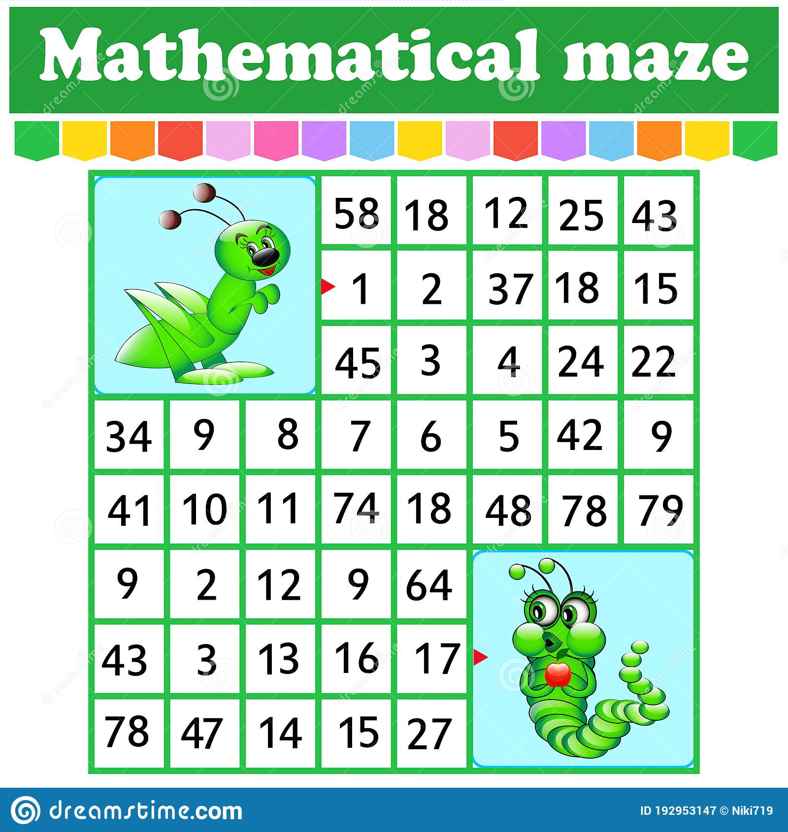 Mathematical Rectangle Maze Caterpillar And Grasshopper