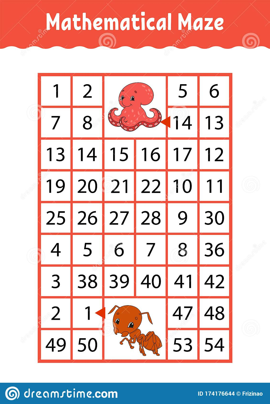 Mathematical Rectangle Maze Octopus And Ant Game For