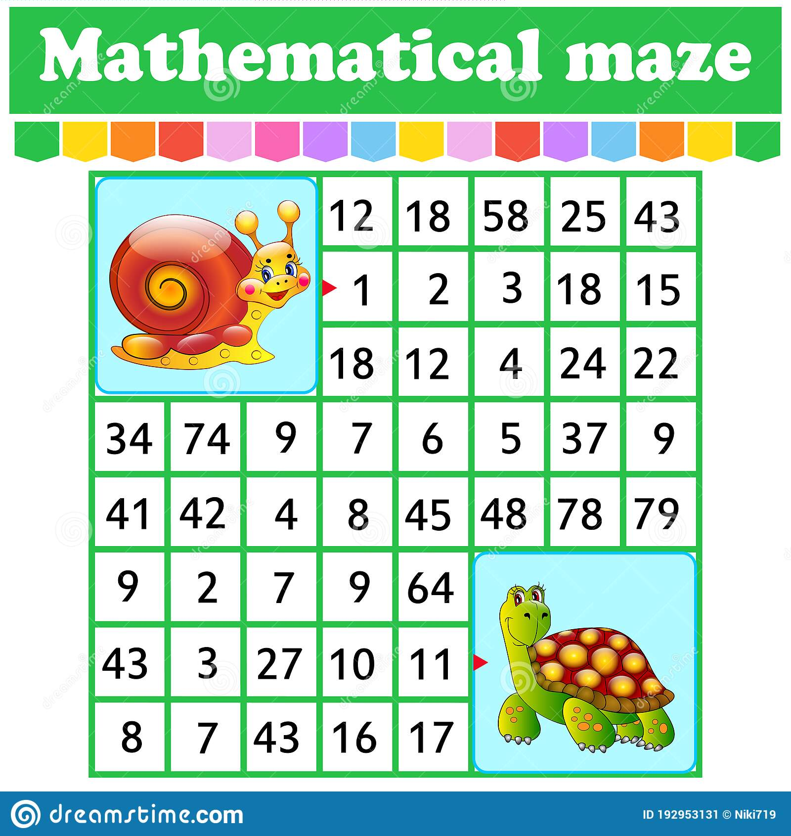 Mathematical Rectangle Maze Snail And Turtle Game For
