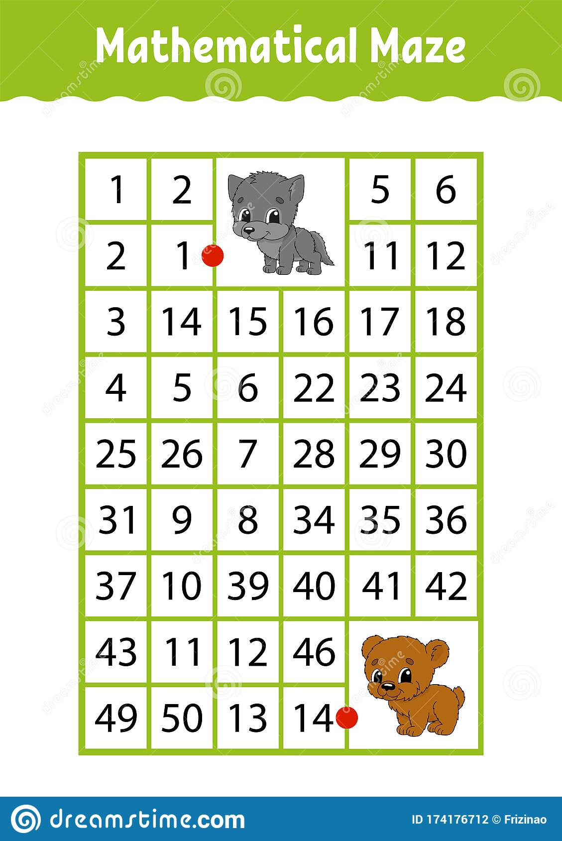 Mathematical Rectangle Maze Wolf And Bear Game For Kids