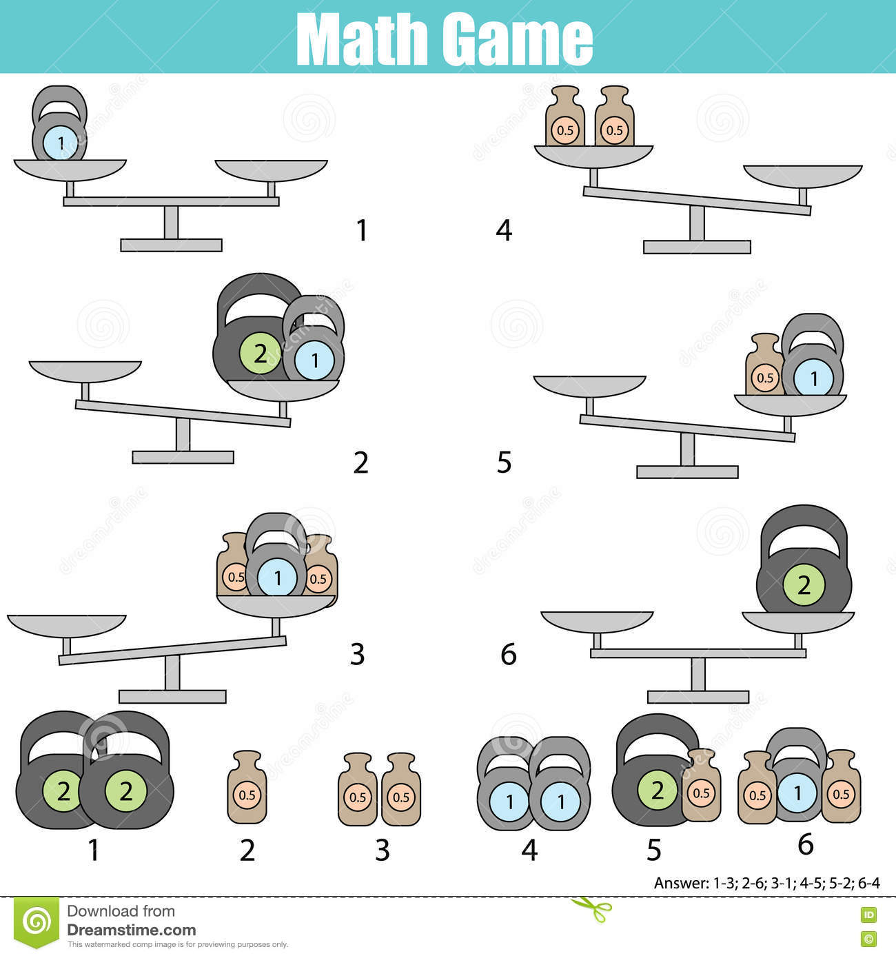 Mathematics Educational Game For Children Balance The