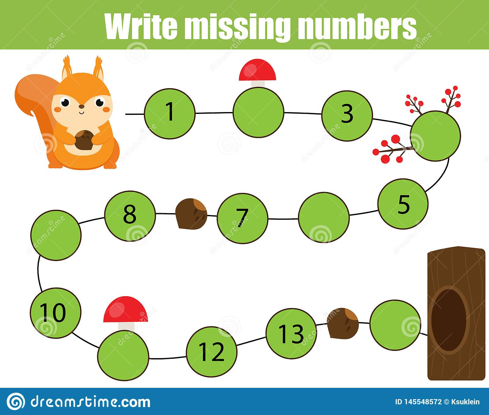 Mathematics Educational Game For Children Complete The