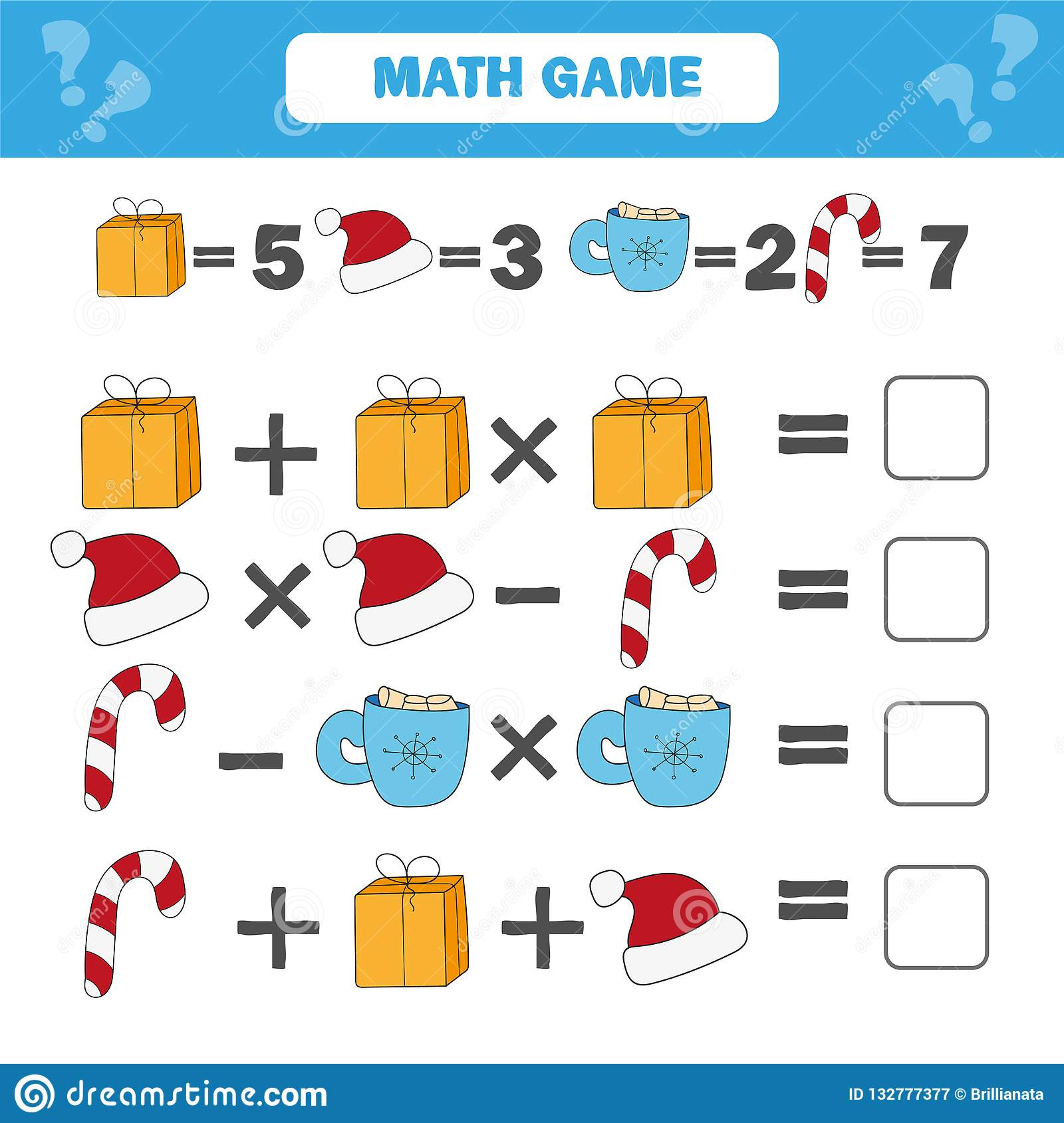 Mathematics Educational Game For Children Counting Equations Worksheet Stock Vector