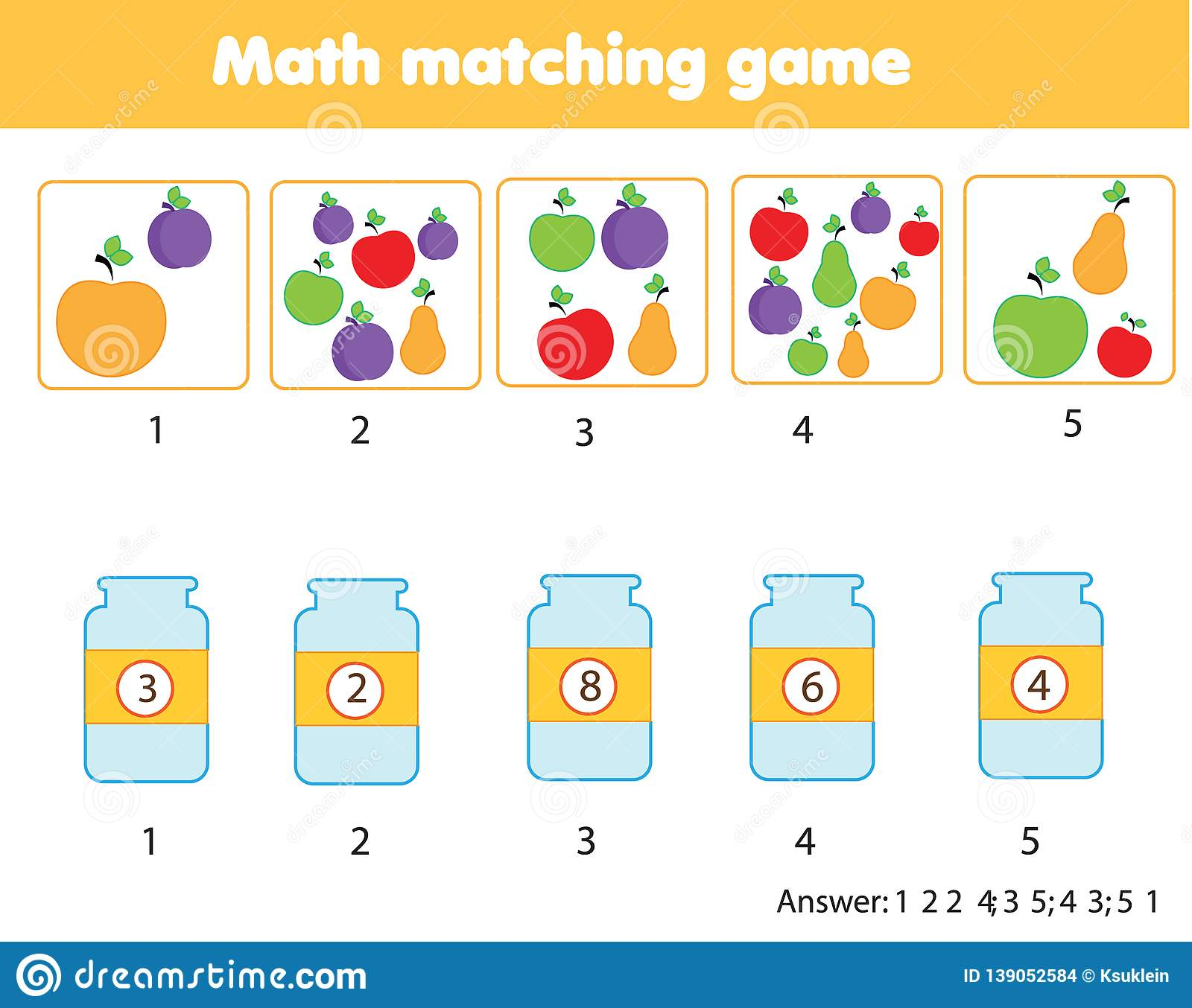 Mathematics Educational Game For Children Match Objects