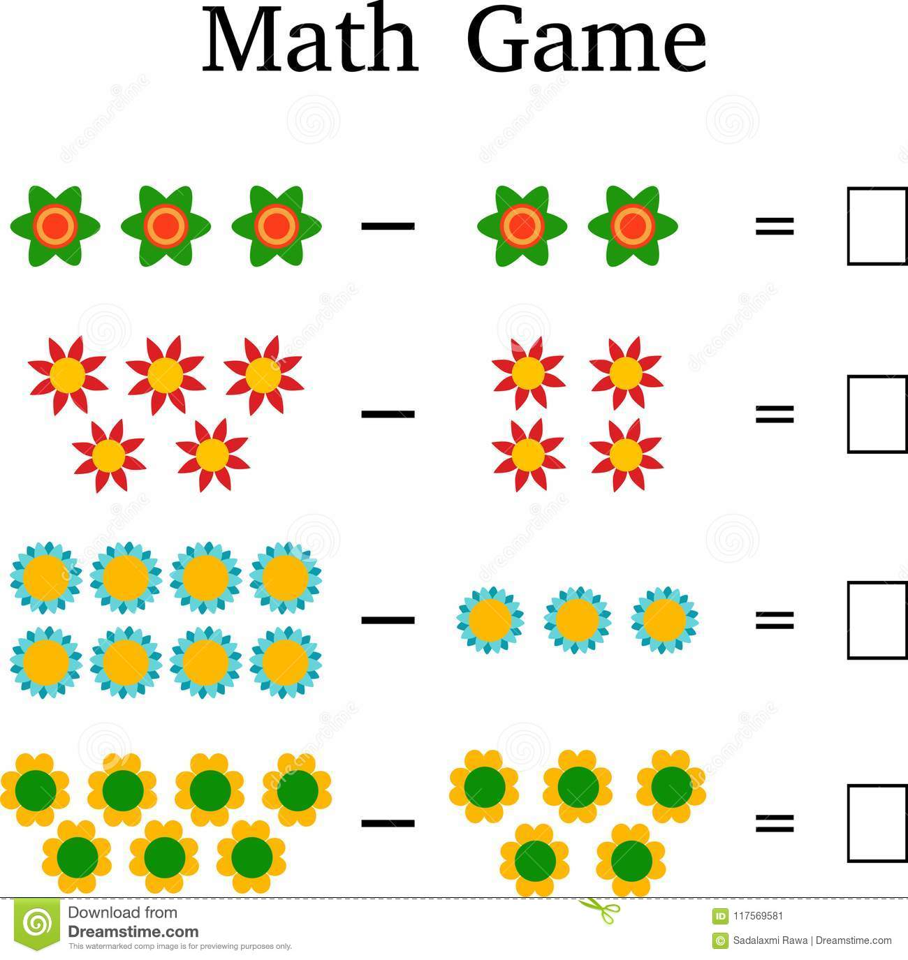 Mathematics Educational Game For Kids Stock Image