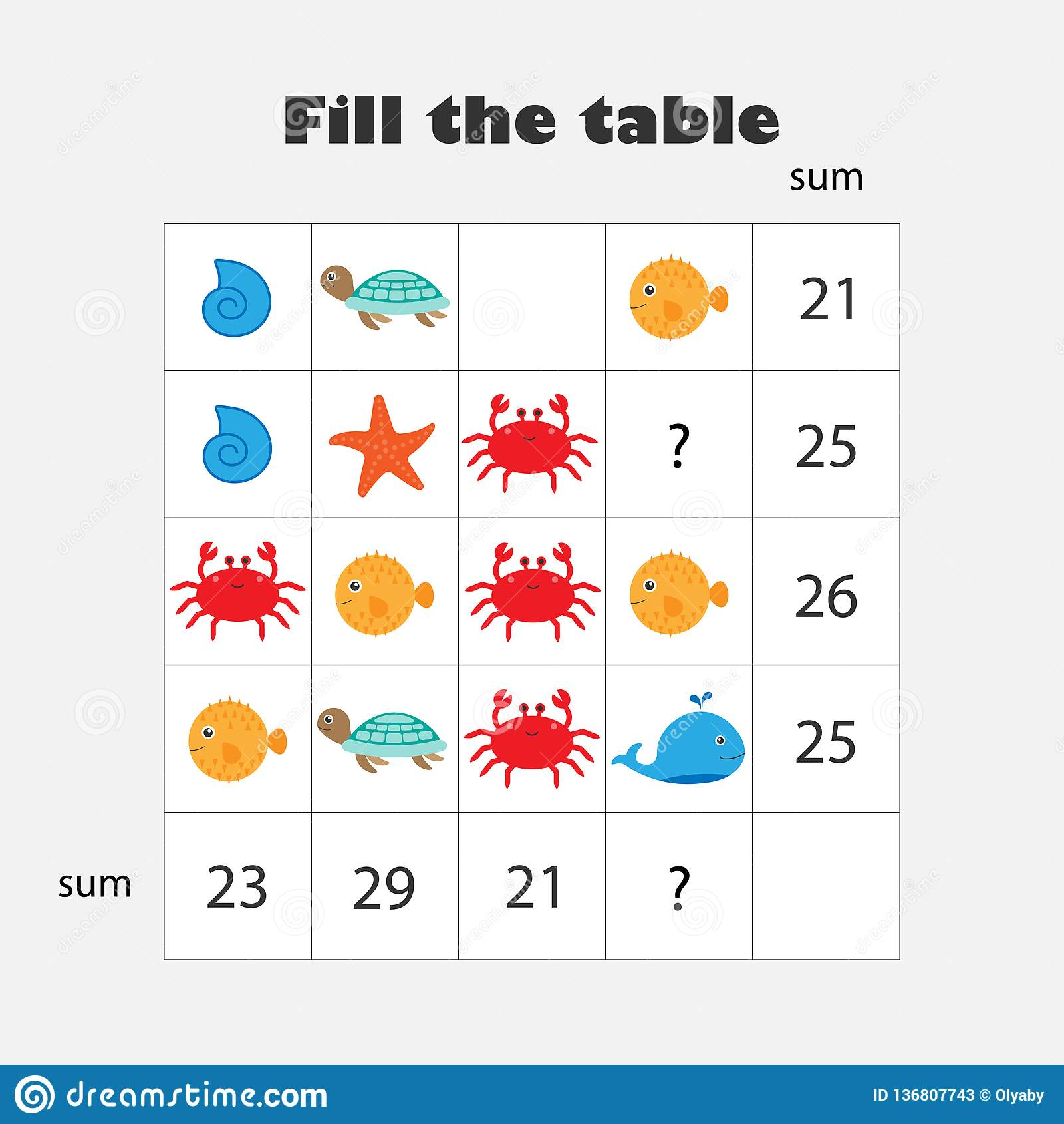 Mathematics Game With Pictures Ocean Animals Theme For