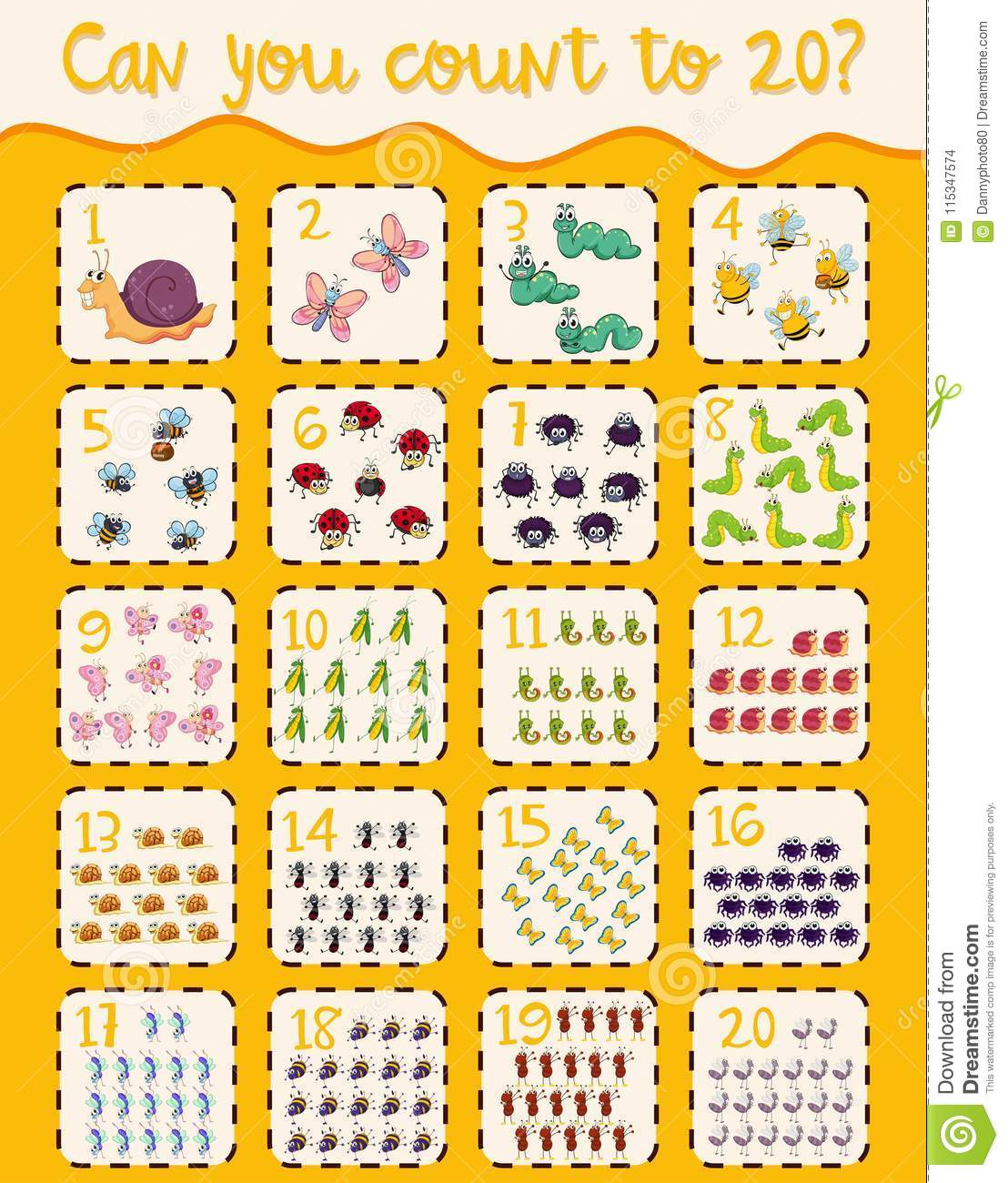 Mathematics Poster Count 1 To 20 Stock Vector